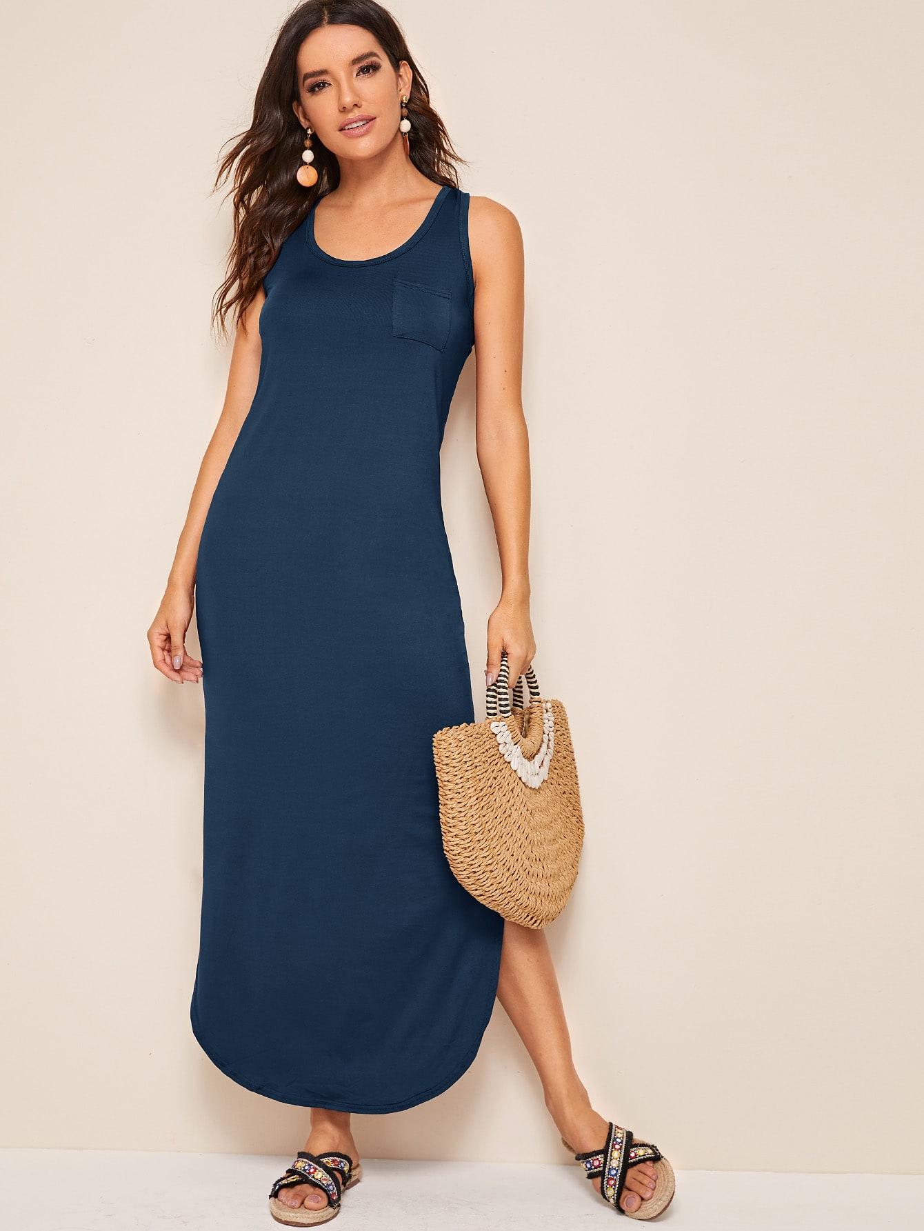 Фото - Платье на бретелях с разрезом от SheIn цвет тёмно-синие