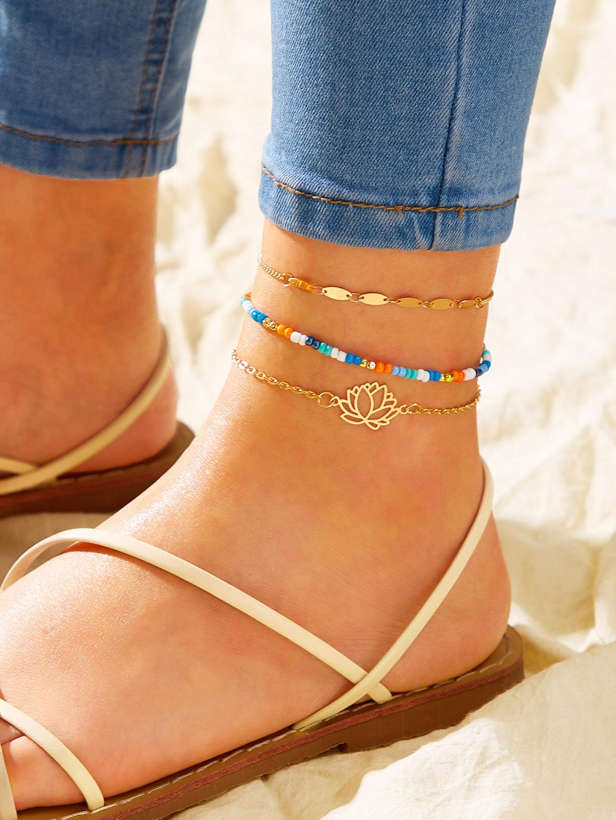 蓮花 裝飾 鏈子 短襪 3pcs