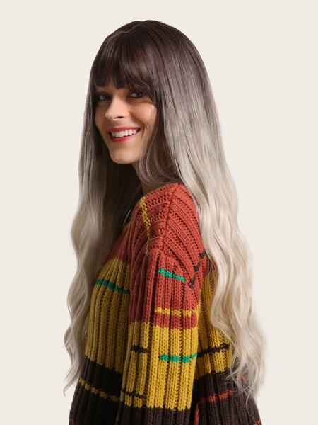 Ombre Long Wave Wig With Bangs