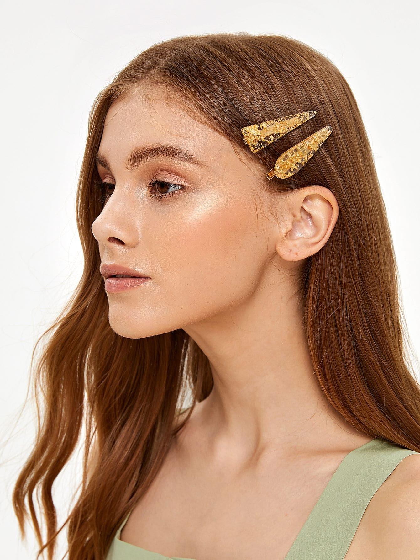 Фото - Зажим для волос с золотой фольгой 2шт. от SheIn золотистого цвета