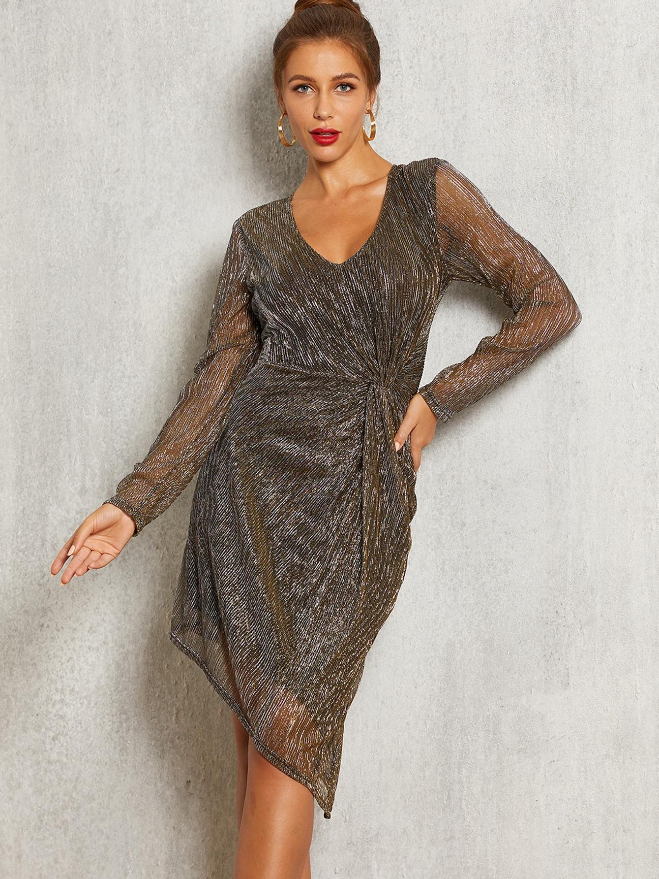 Фото - Платье со сеткой и витой от SheIn цвет коричневые