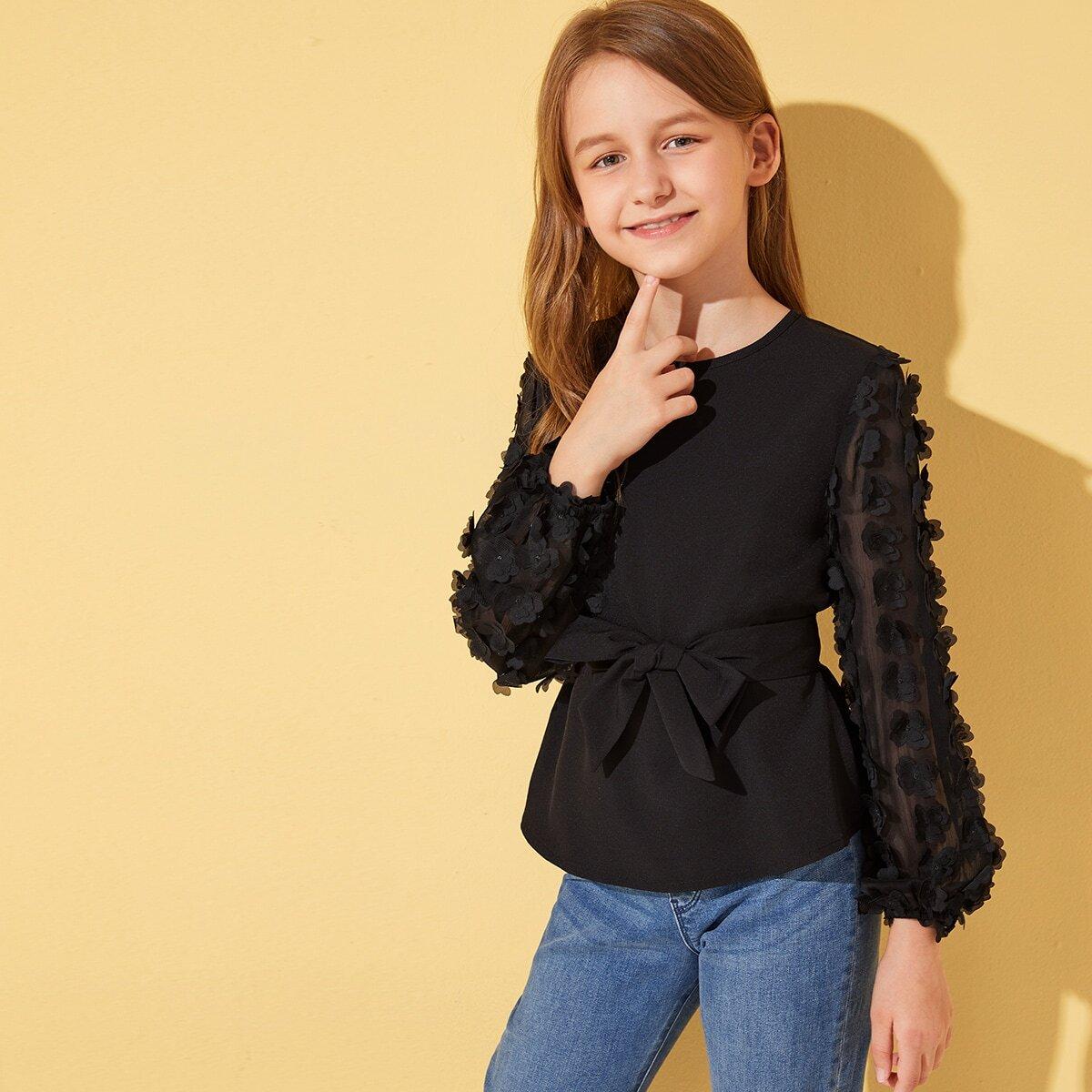 Топ с сетчатым рукавом, 3D аппликацией и поясом для девочек от SHEIN