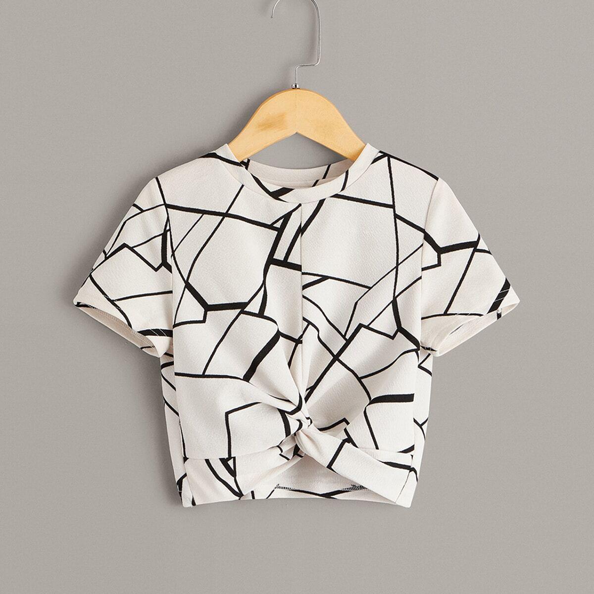 Топ с драпировкой и геометрическим принтом для девочек от SHEIN