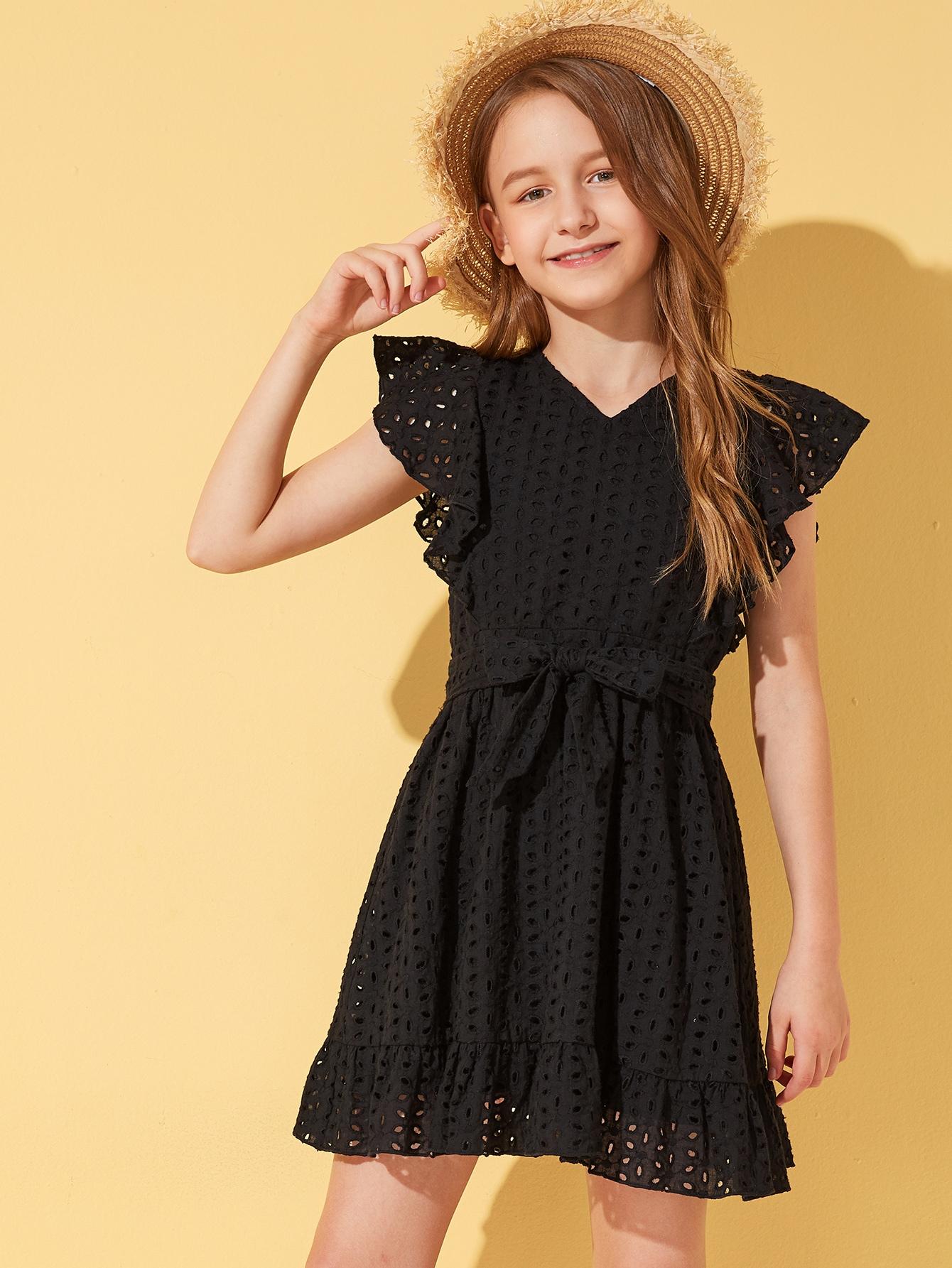 Фото - Платье с оборками и поясом для девочек от SheIn цвет чёрные