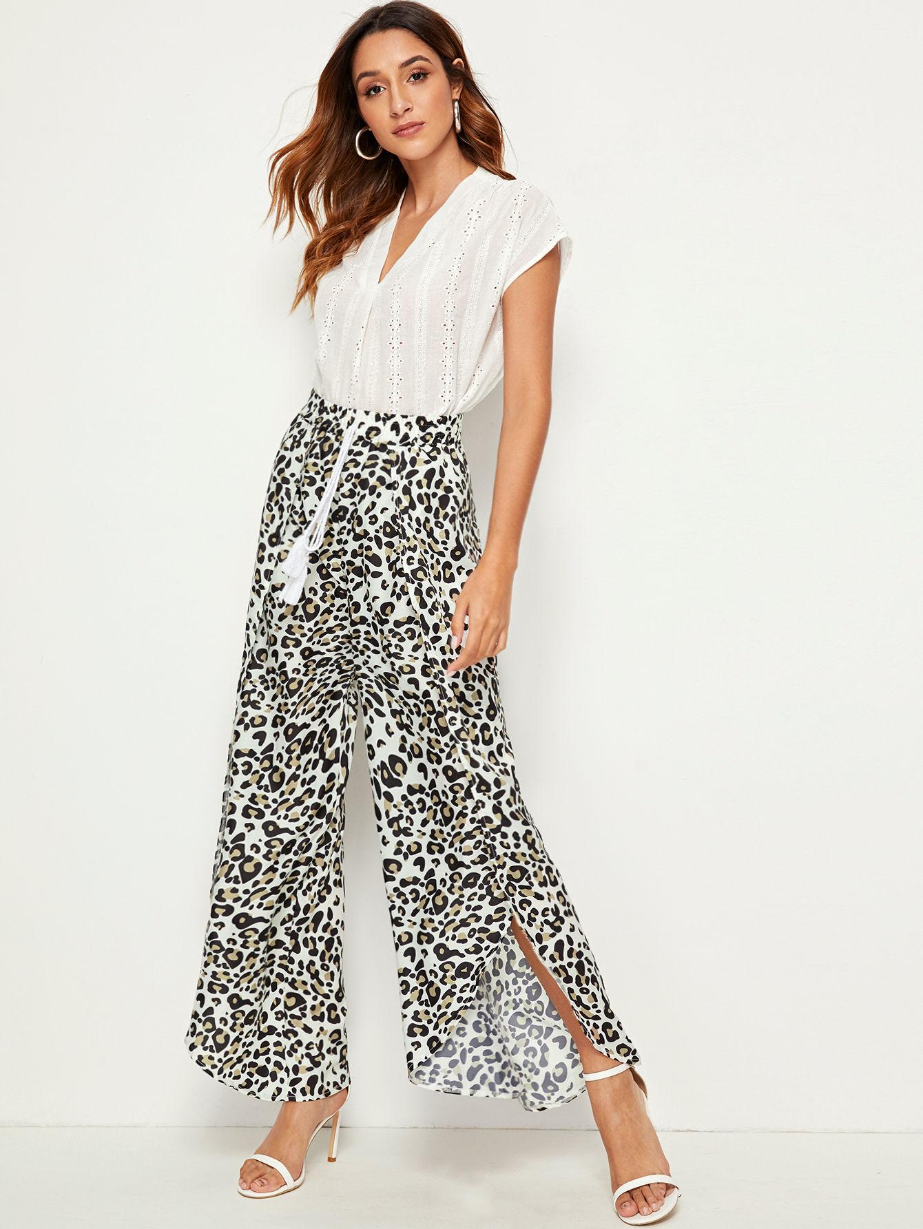 Фото - Широкие брюки на кулиске с леопардовым принтом от SheIn цвет многоцветный