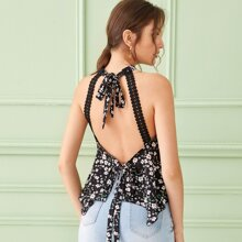 Ditsy Floral Contrast Lace Tie Back Hankey Hem Tops