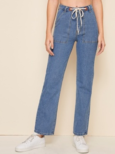 Drawstring Waist Straight Leg Jeans