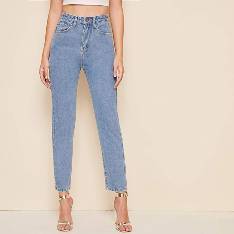 Bleach Wash Straight Leg Jeans, Blue pastel