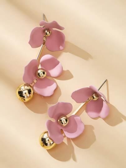 Фото 5 - Серьги-гвоздики с двойным цветочным декором 1 пара от SheIn розового цвета