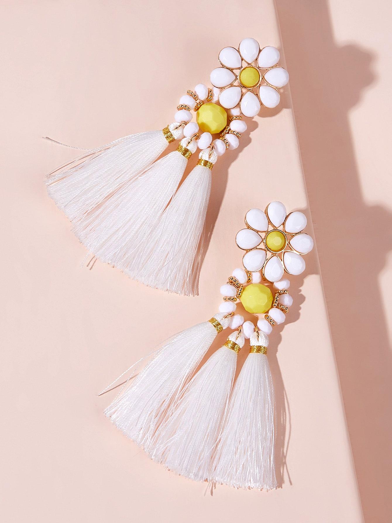 Фото - Серьги-капли с кисточкой и цветочным декором 1пара от SheIn цвет многоцветный