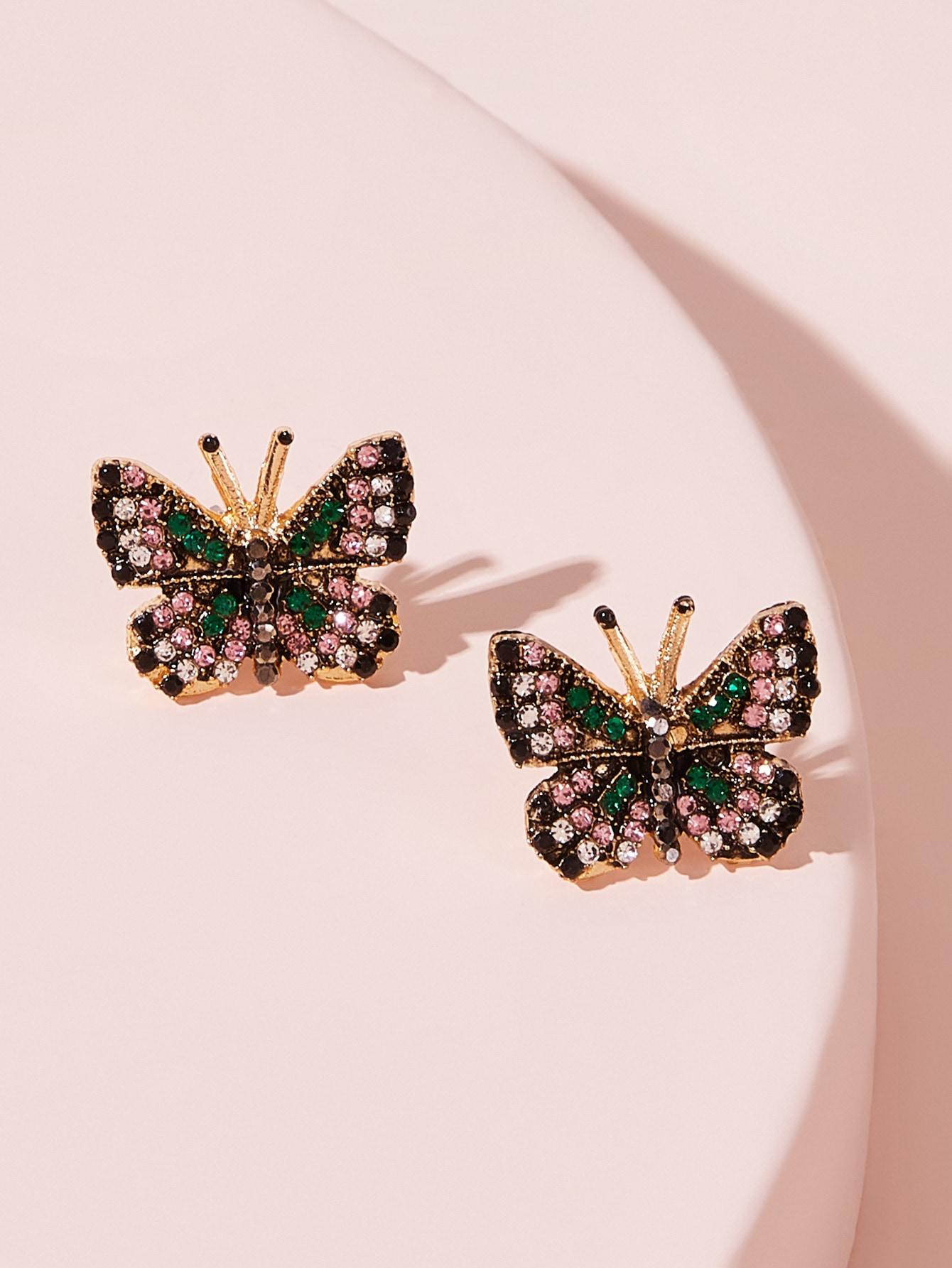 Фото - Серьги-гвоздики с бриллиантами и стразами 1 пара от SheIn цвет многоцветный