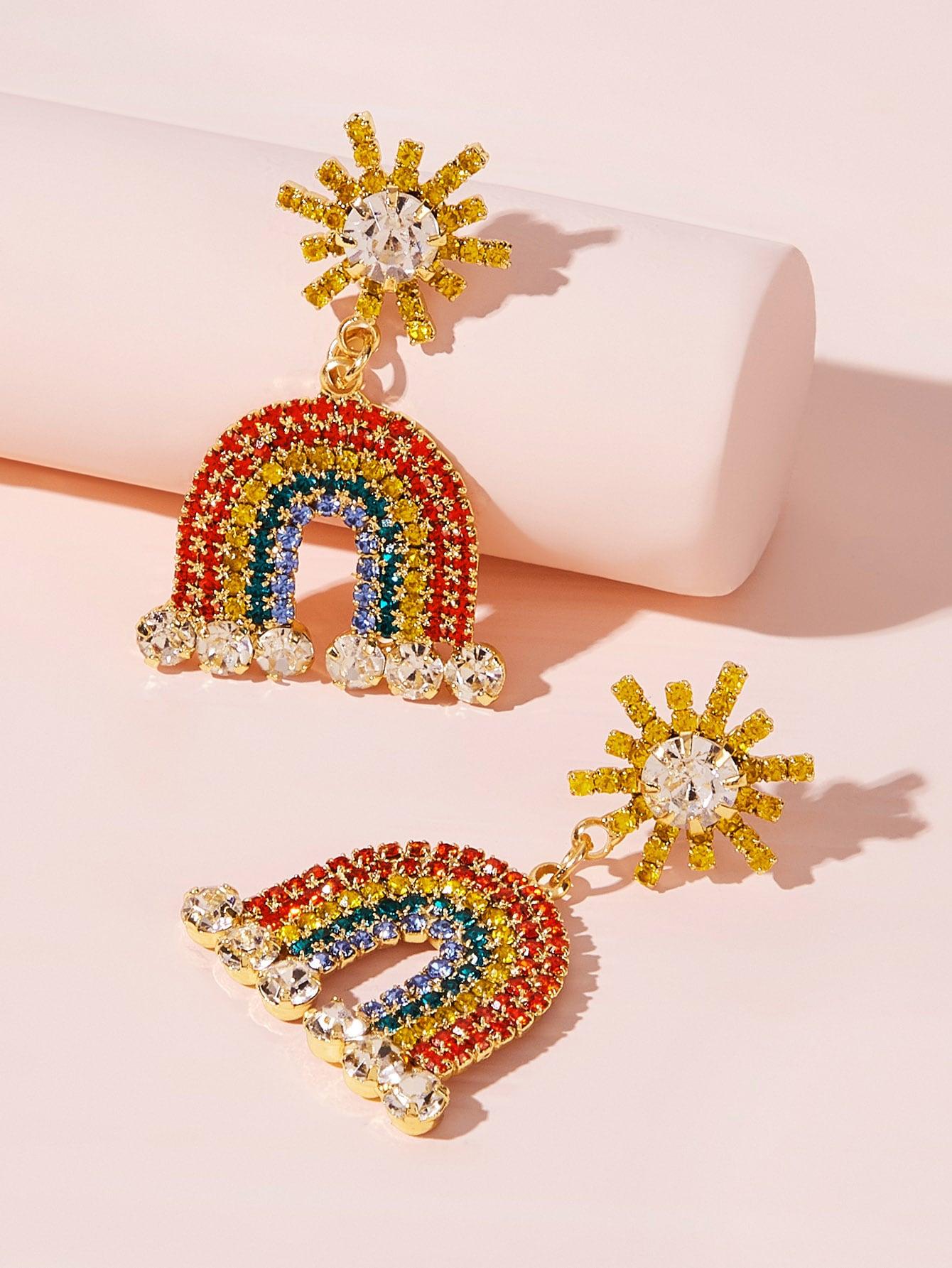 Фото - Серьги-капли с гравировкой и стразами 1 пара от SheIn цвет многоцветный