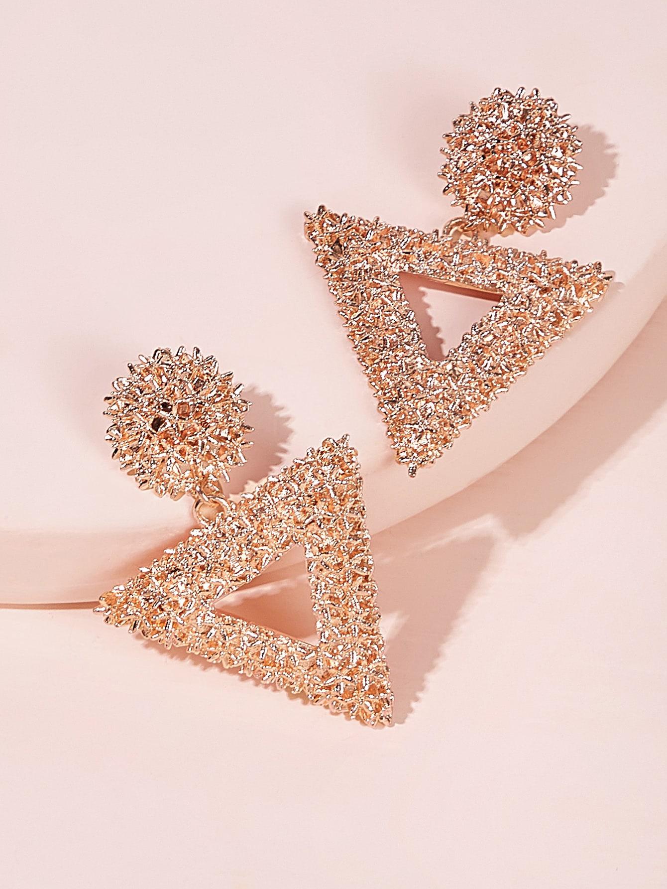Фото - Текстурированные серьги-капли с открытым треугольником 1 пара от SheIn цвет золотые