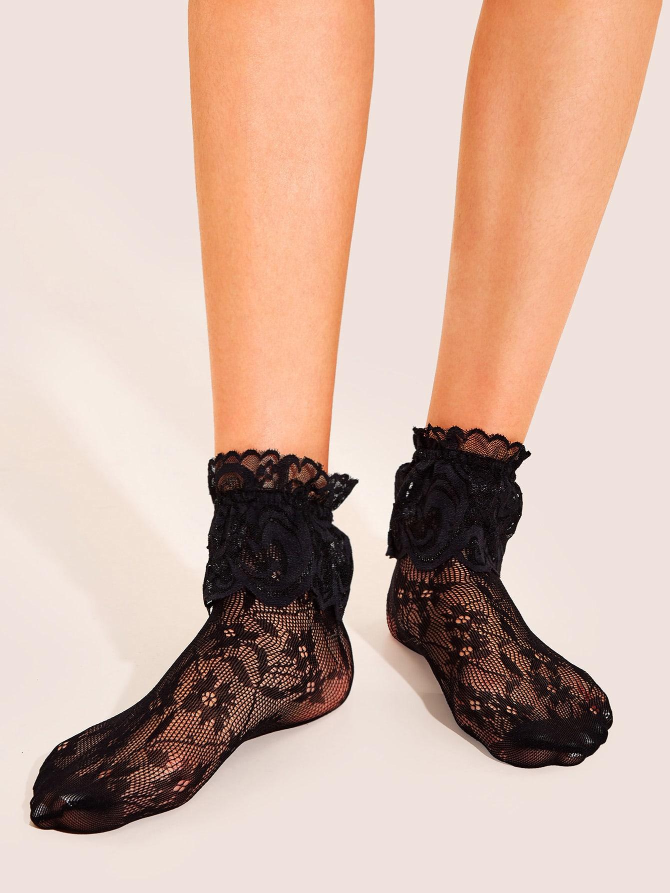 Фото - Кружевные сетчатые носки 1 пара от SheIn черного цвета