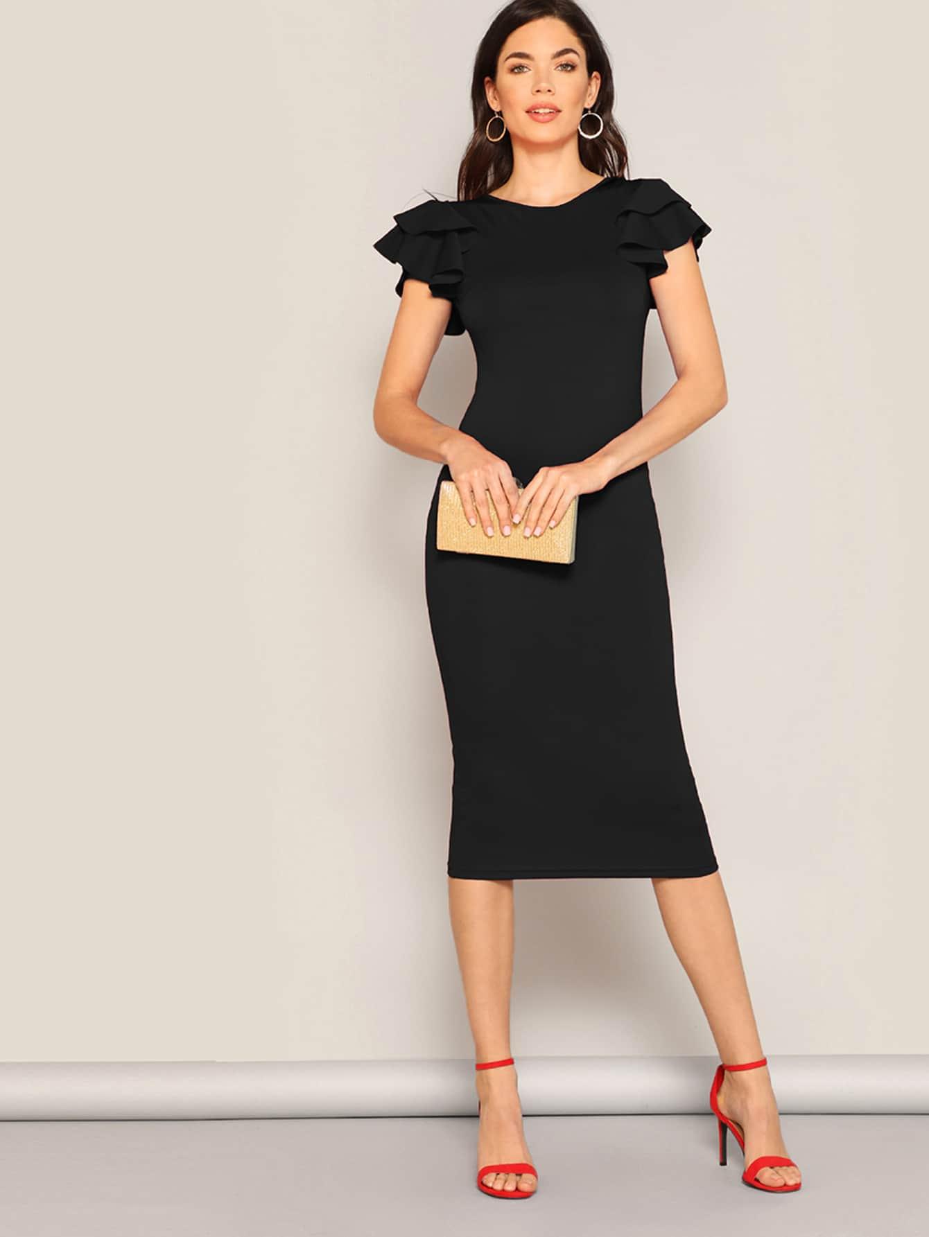 Фото - Платье-карандаш с оригинальным рукавом от SheIn цвет чёрные