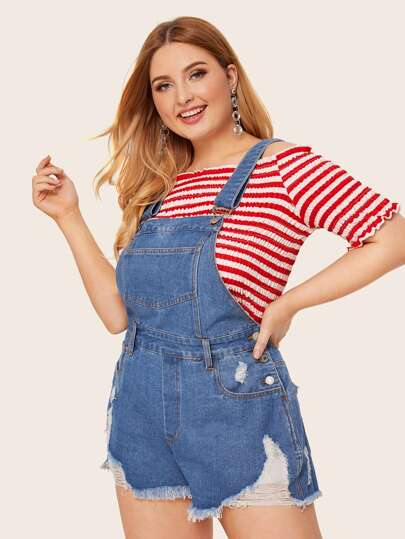 SheIn / Plus Pocket Button Ripped Raw Hem Denim Overalls
