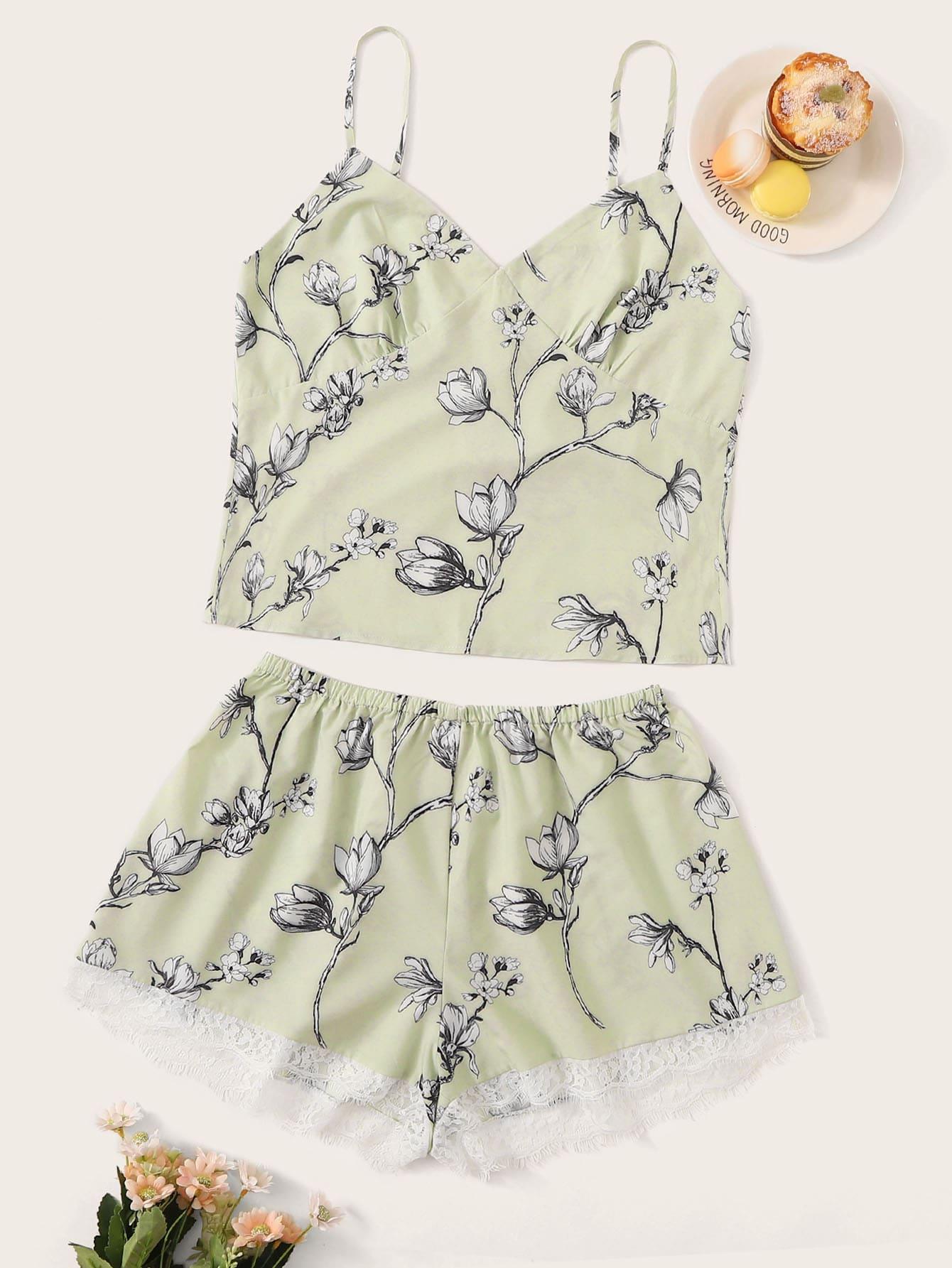 Фото - Пижама на бретелях с кружевом и цветочным принтом от SheIn цвет зелёные