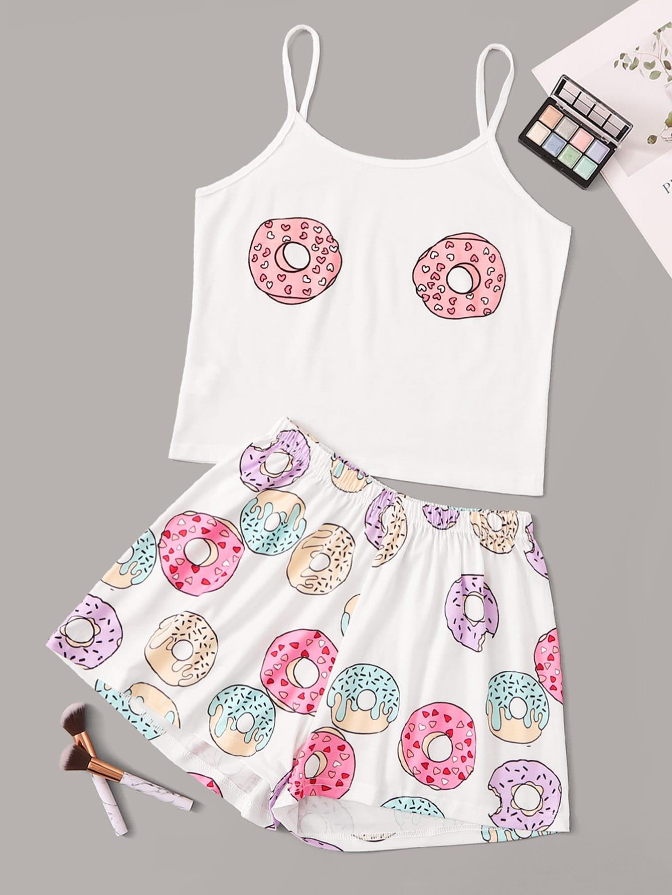 Фото - Пижама на бретелях с графическим принтом от SheIn цвет многоцветный