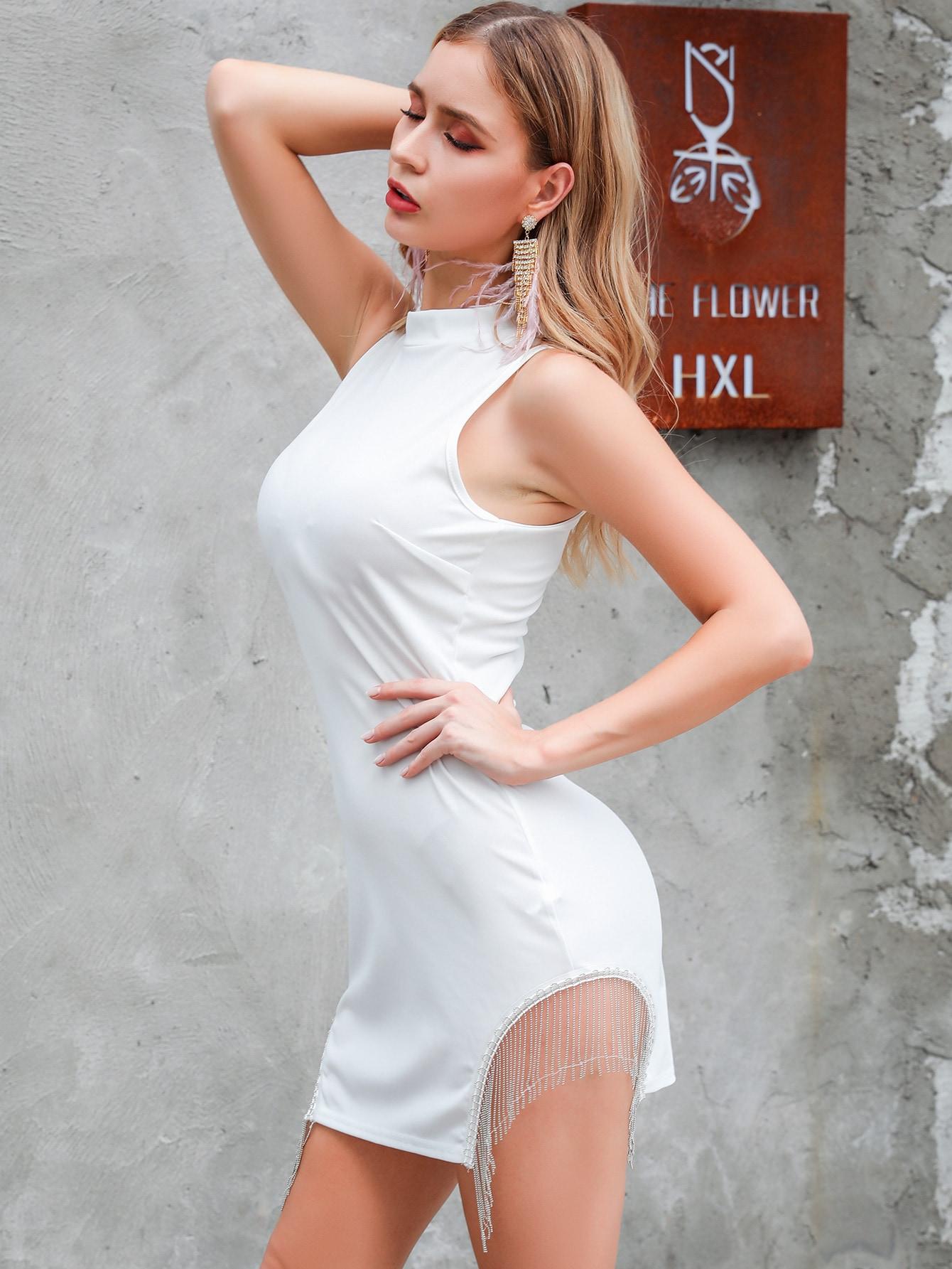 Фото - Платье с молнией и бахромой от SheIn цвет белые