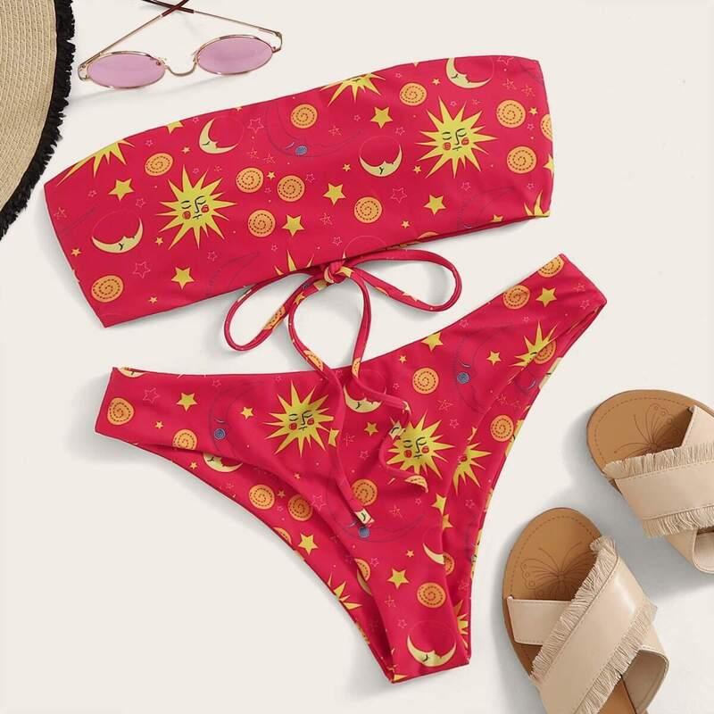 Cartoon Print Lace Up Back Bandeau Bikini Set, Red