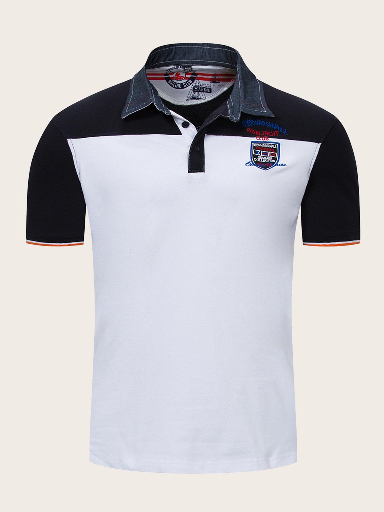 Фото - Мужская контрастная рубашка-поло с вышивкой и воротником-стойка от SheIn белого цвета