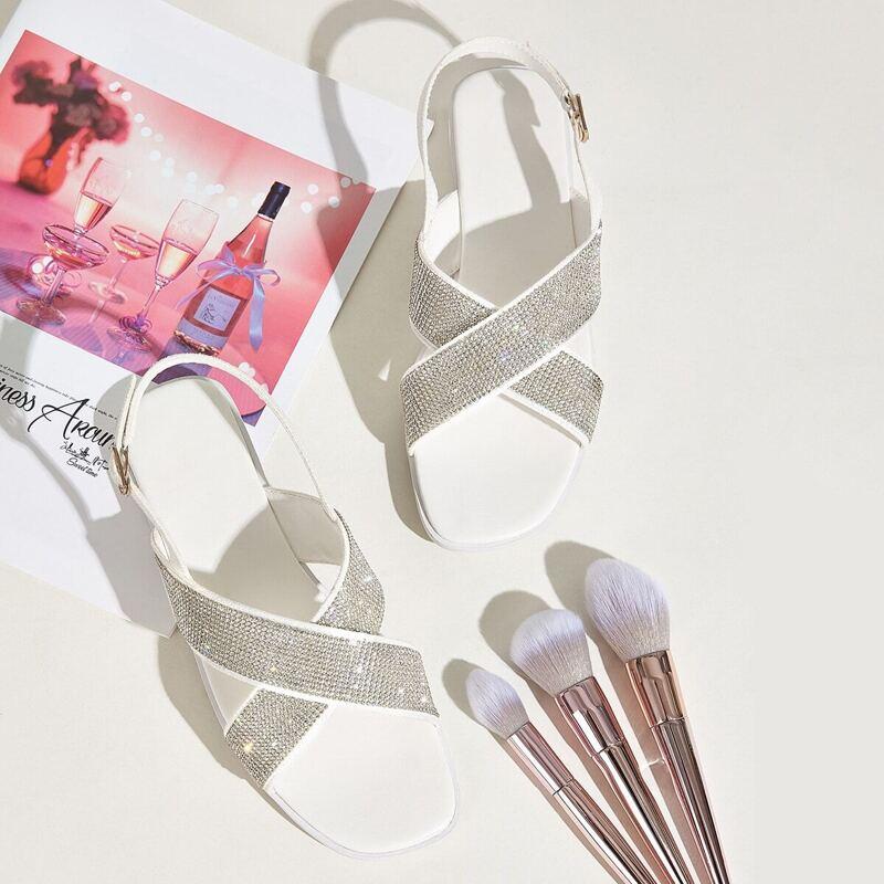Rhinestone Decor Cross Strap Slingback Sandals, White