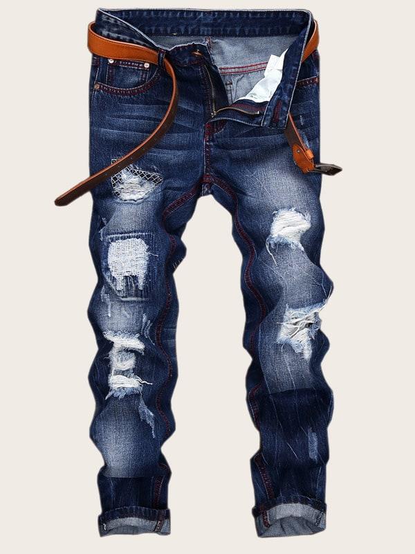 Фото - Мужские ребристые джинсы без пояса от SheIn синего цвета