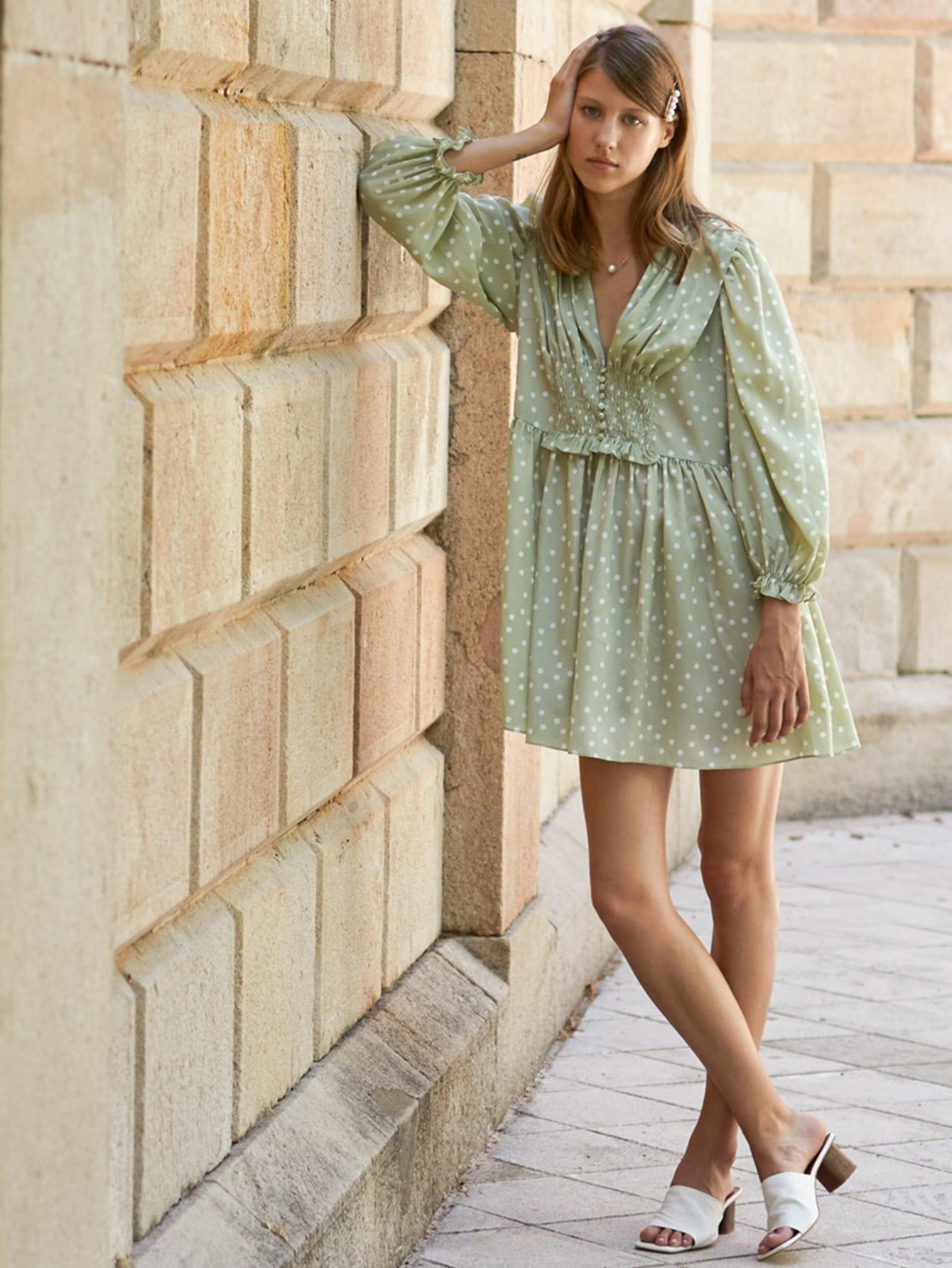 Фото - Стильное платье в горошек от SheIn цвет зелёные