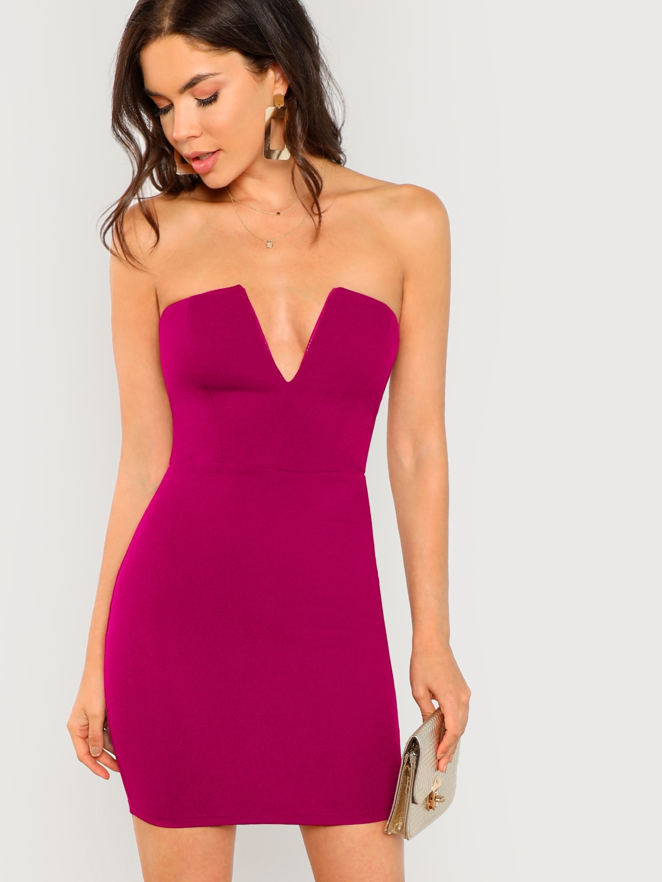 Фото - Однотонное платье на запах с V-образным вырезом от SheIn цвет розовые