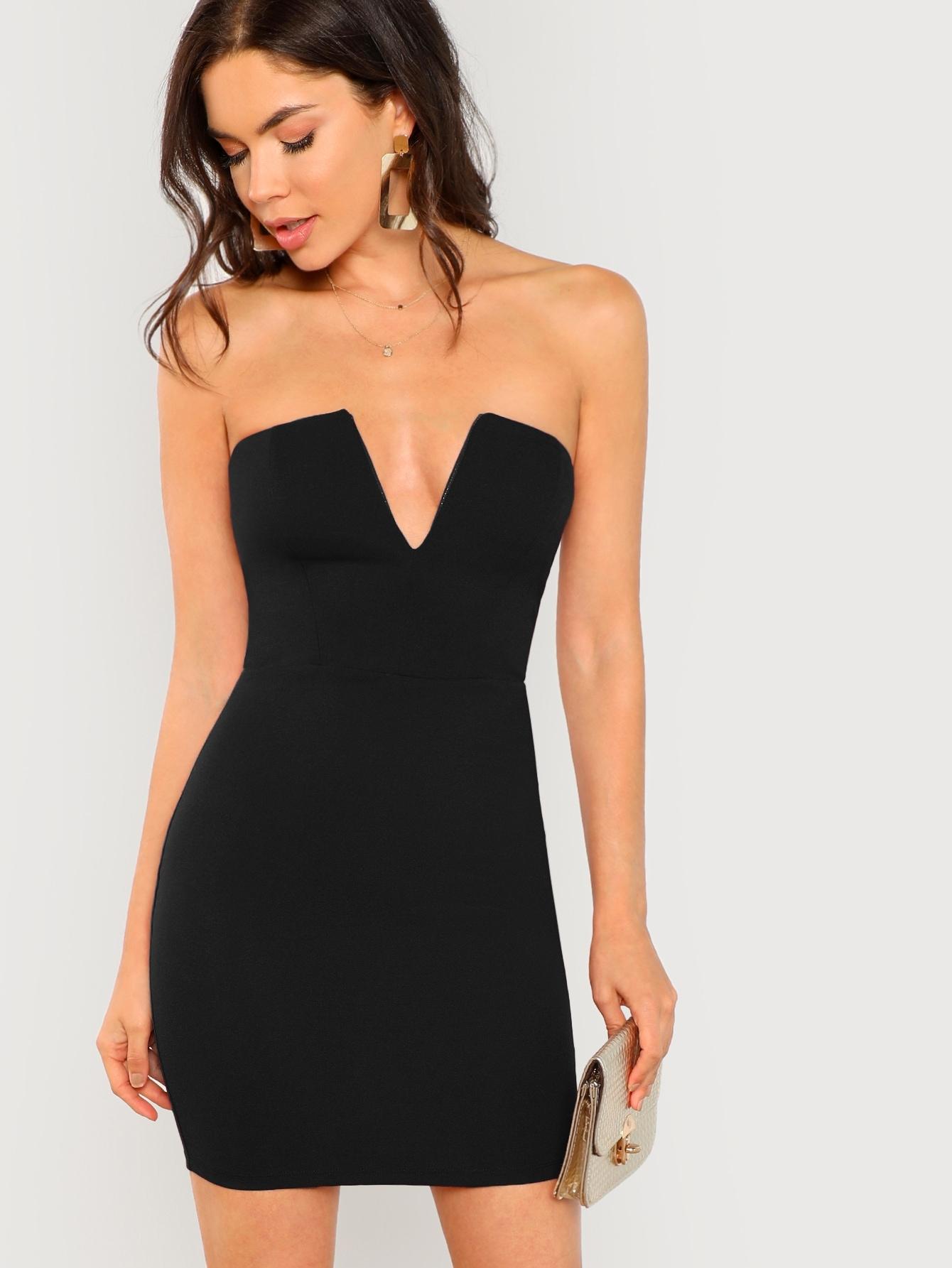 Фото - Облегающее платье без бретелек с v-образным вырезом от SheIn цвет чёрные