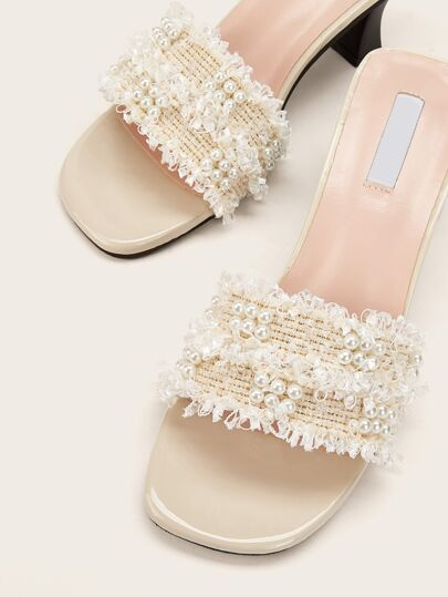 SheIn / Faux Pearl Decor Chunky Heeled Mules
