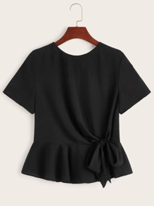 Tie Front Backless Peplum Top