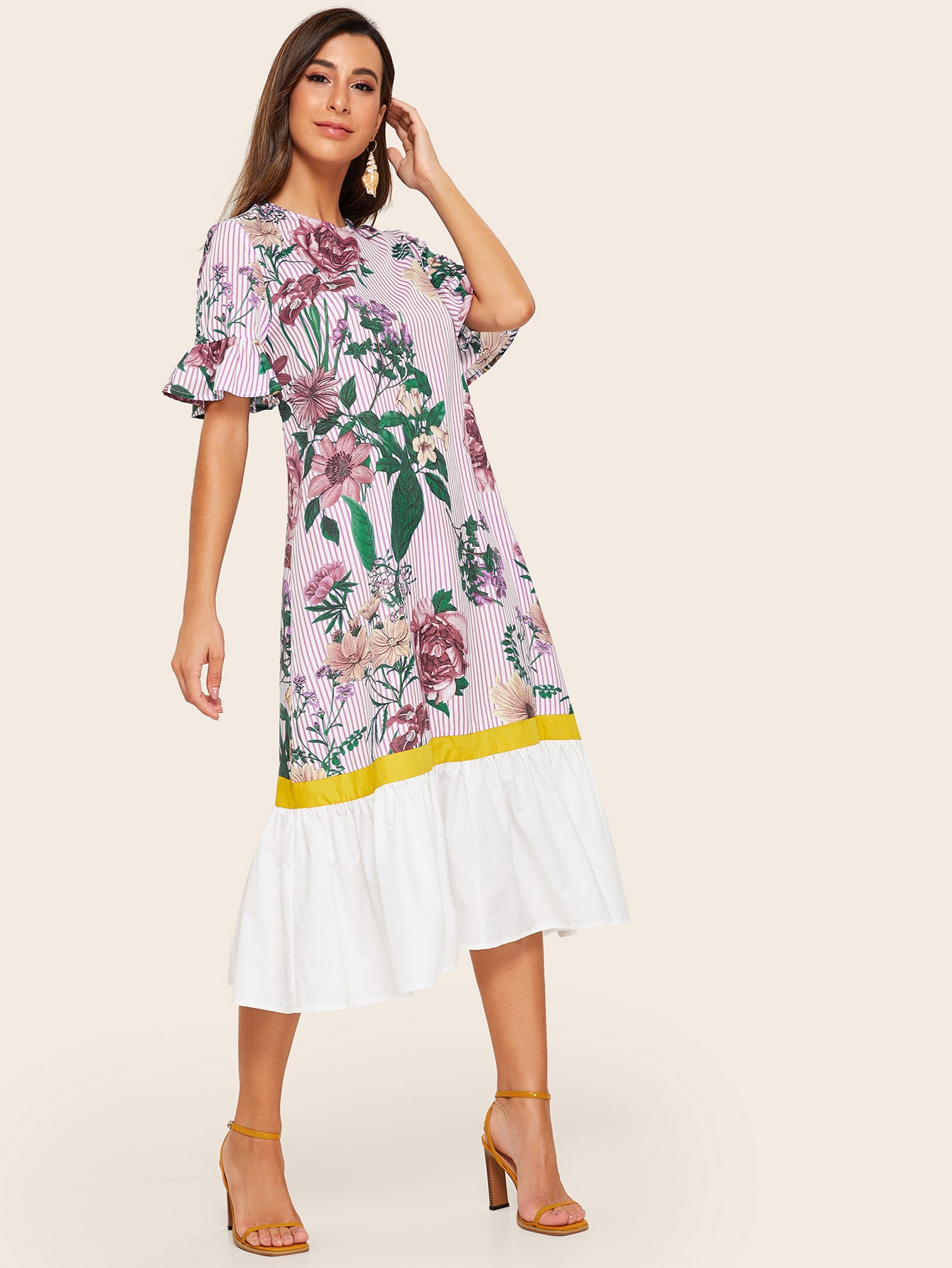 Платье в полоску с цветочным принтом и оборками