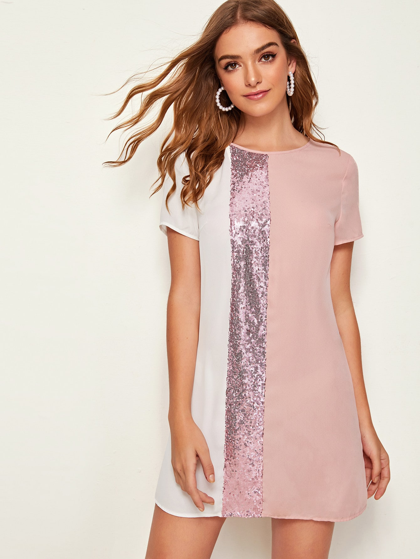 Фото - Контрастное платье с блестками от SheIn цвет розовые