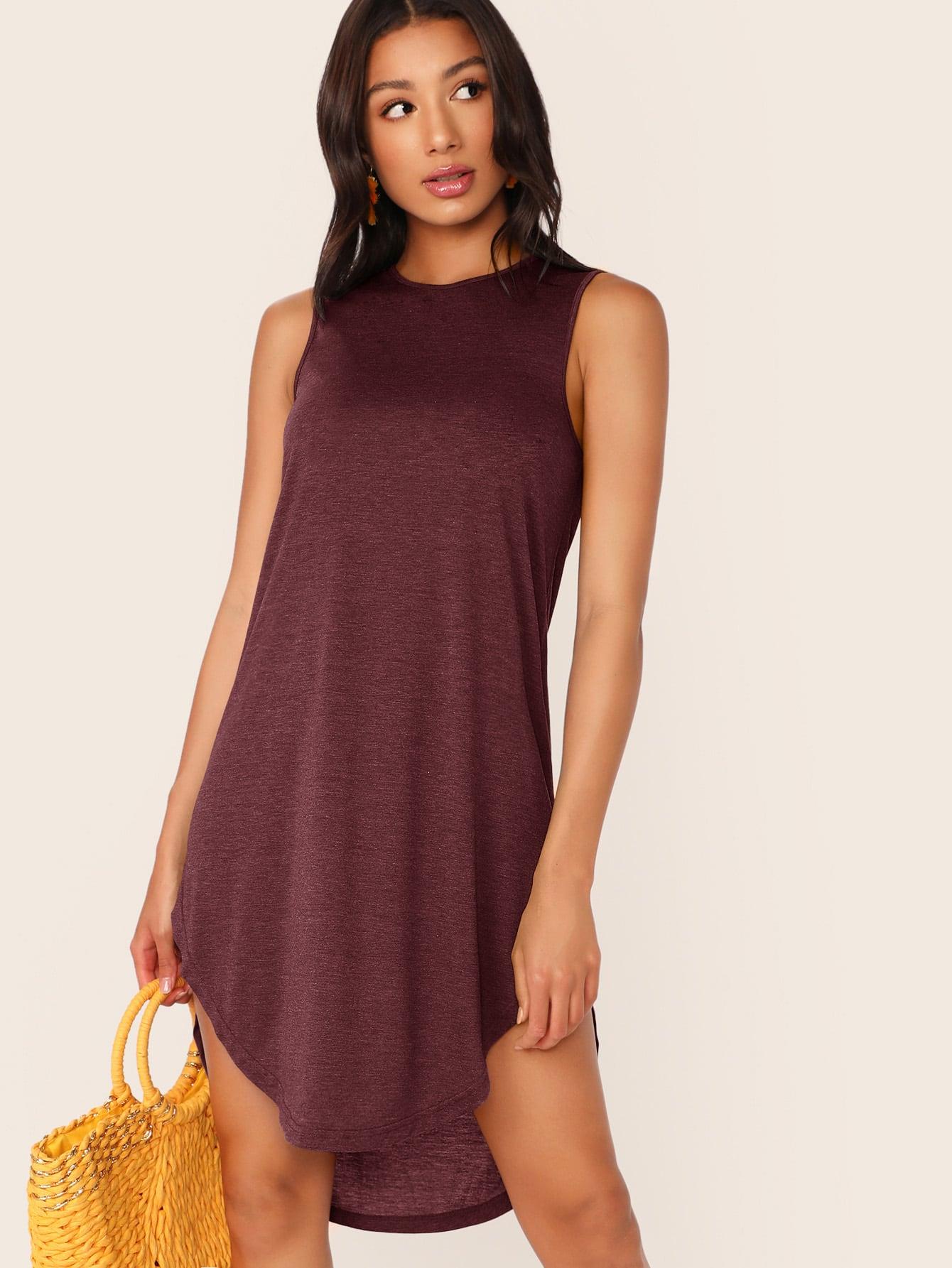Фото - Платье с выгнутым подолом от SheIn цвет бургундия