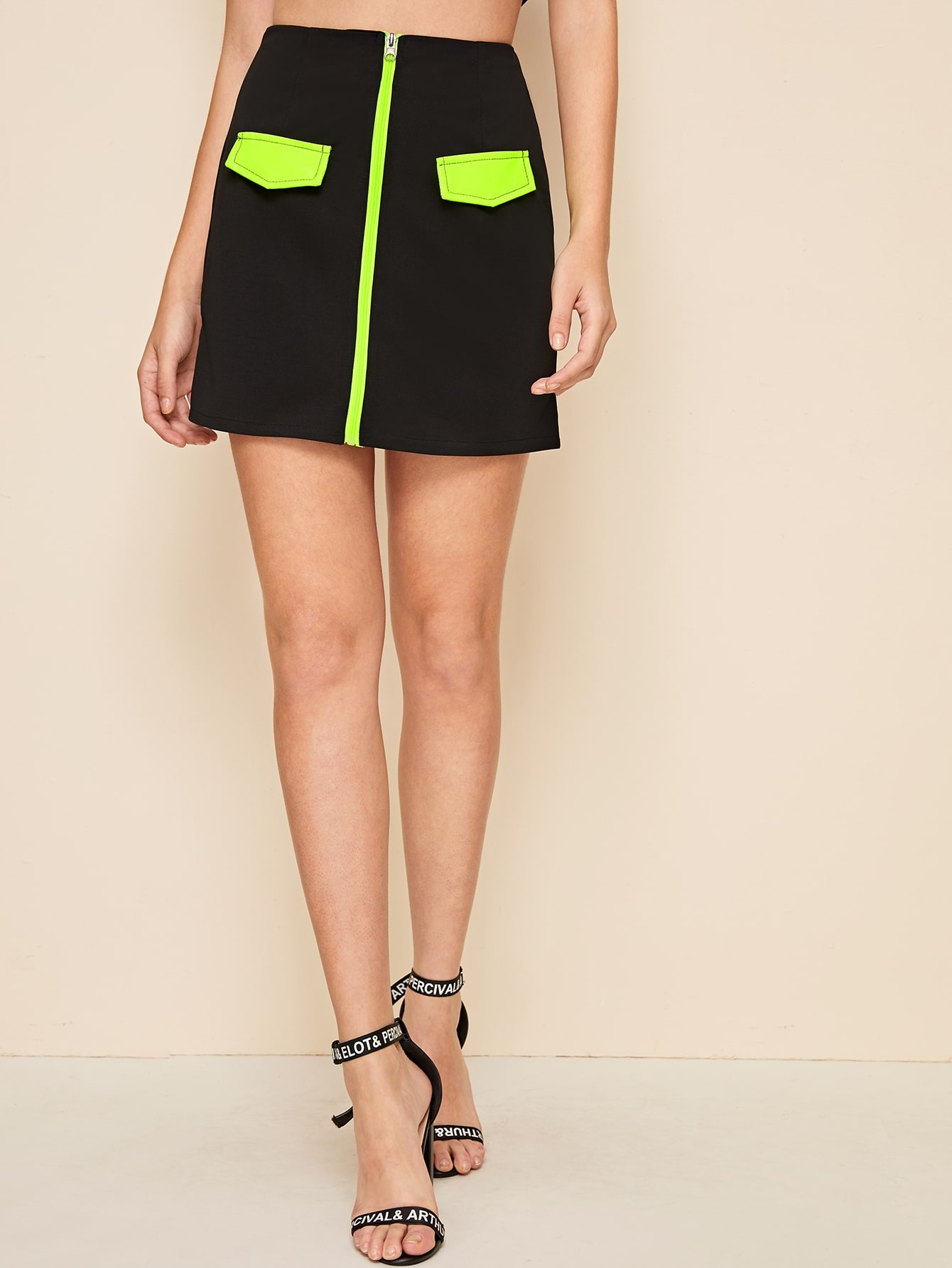 Фото - Контрастная юбка-карандаш на молнии от SheIn черного цвета