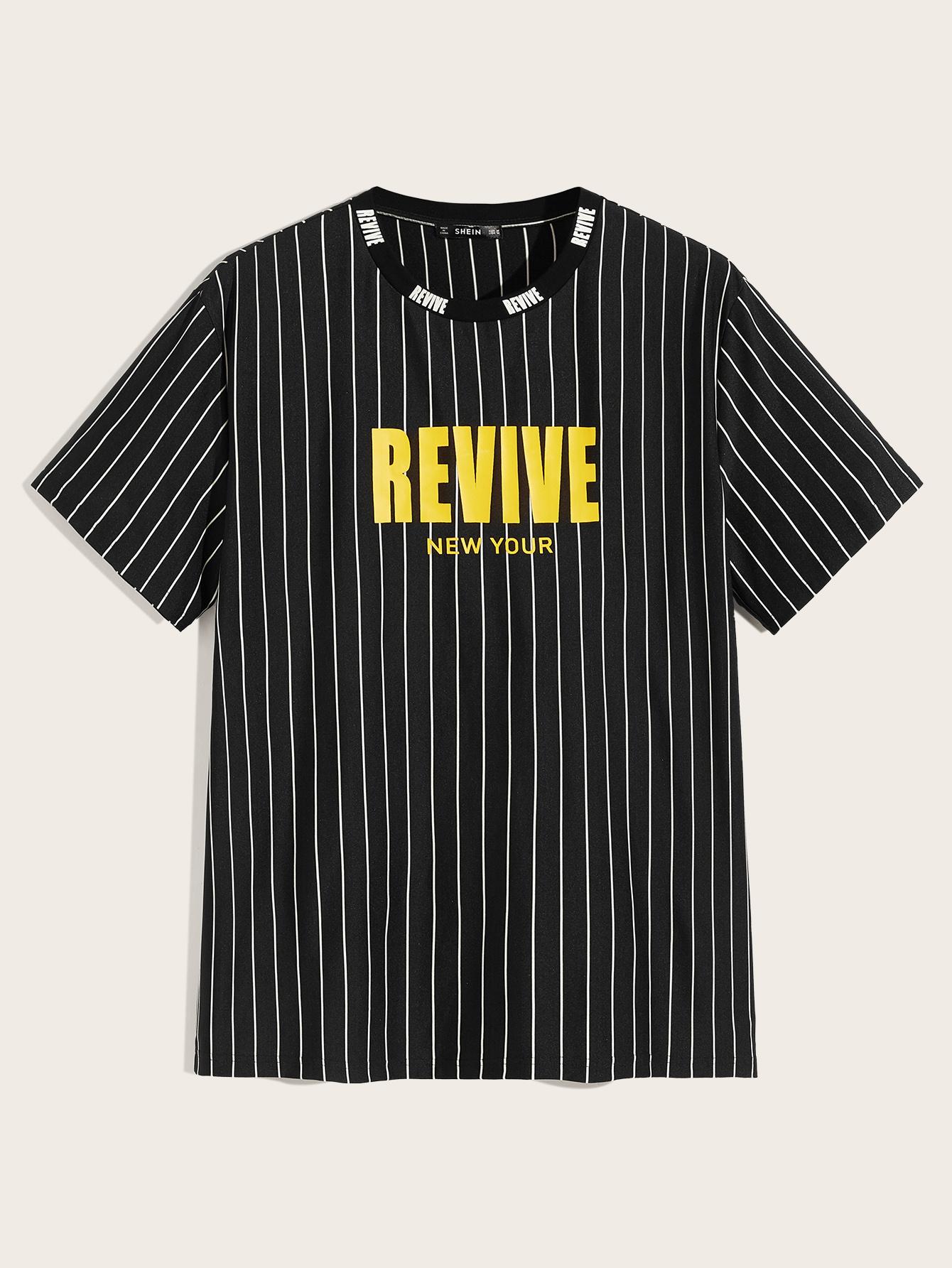 Фото - Мужская полосатая футболка с текстовым принтом от SheIn черного цвета