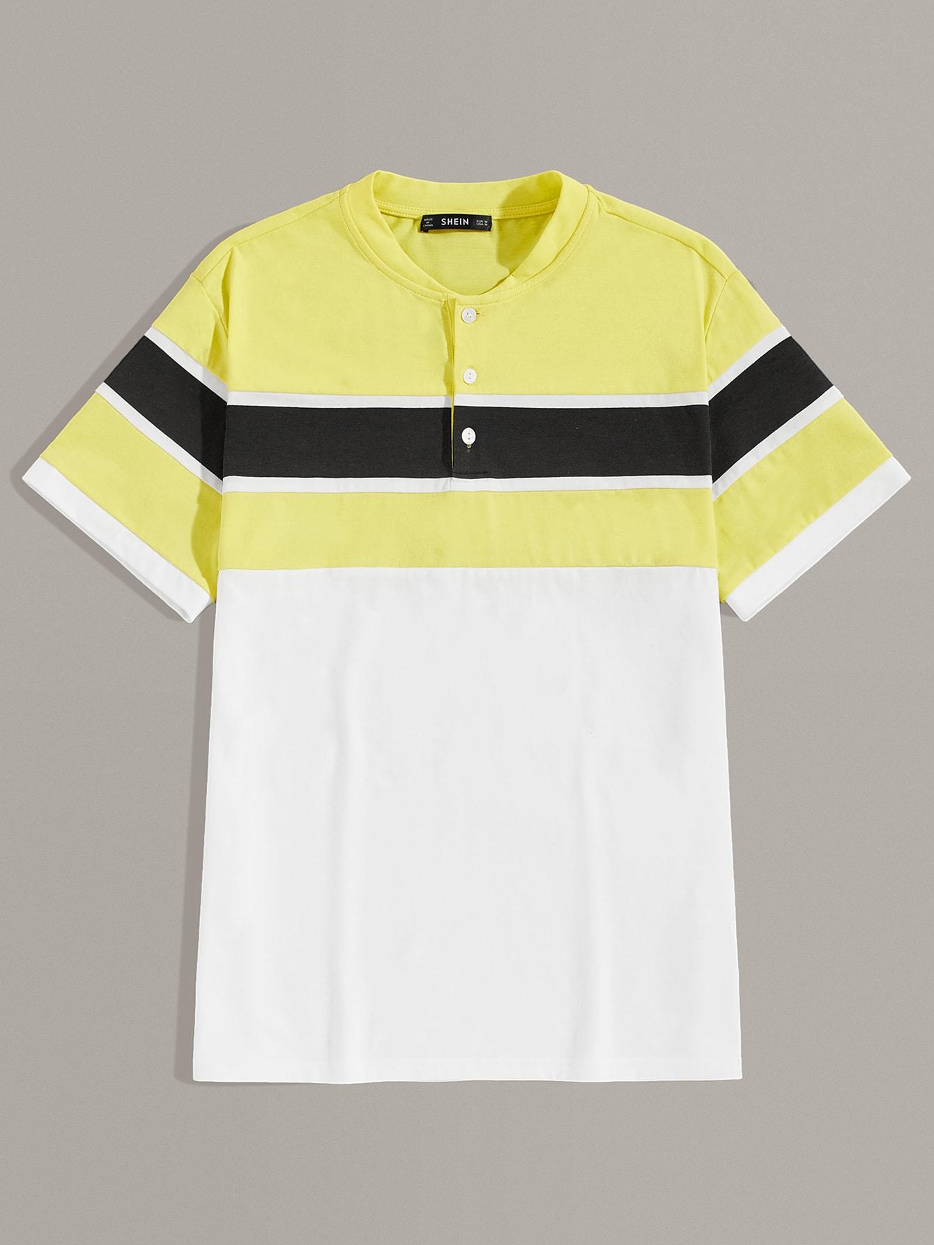 Фото - Мужская контрастная футболка с пуговицами от SheIn цвет многихцветный