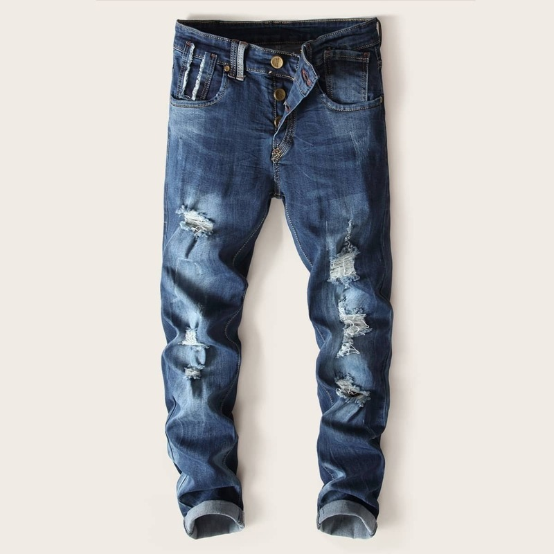 Guys Straight Leg Ripped Jeans, Blue