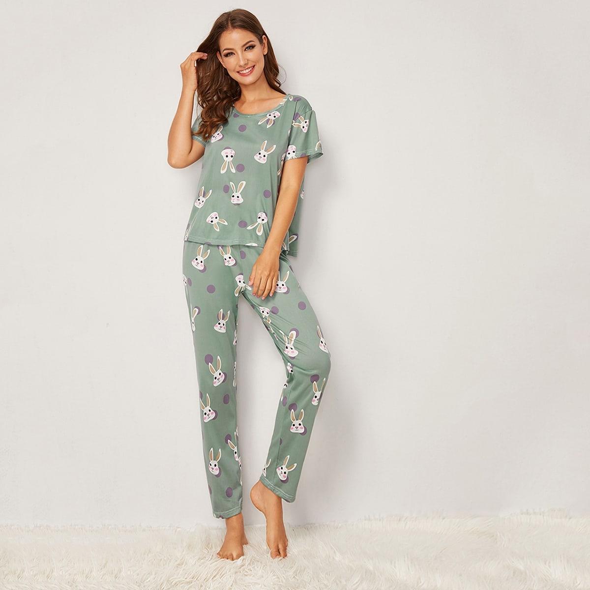 Groen Casual Stippen Lounge kleding