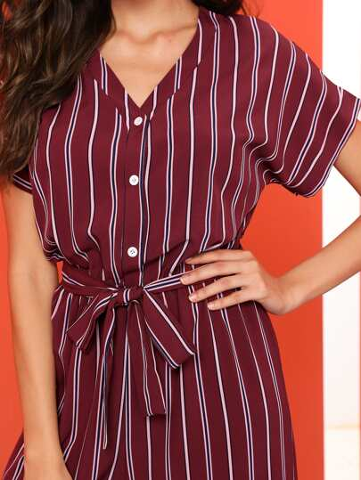 SheIn / Striped Belted V Neck Jumpsuit