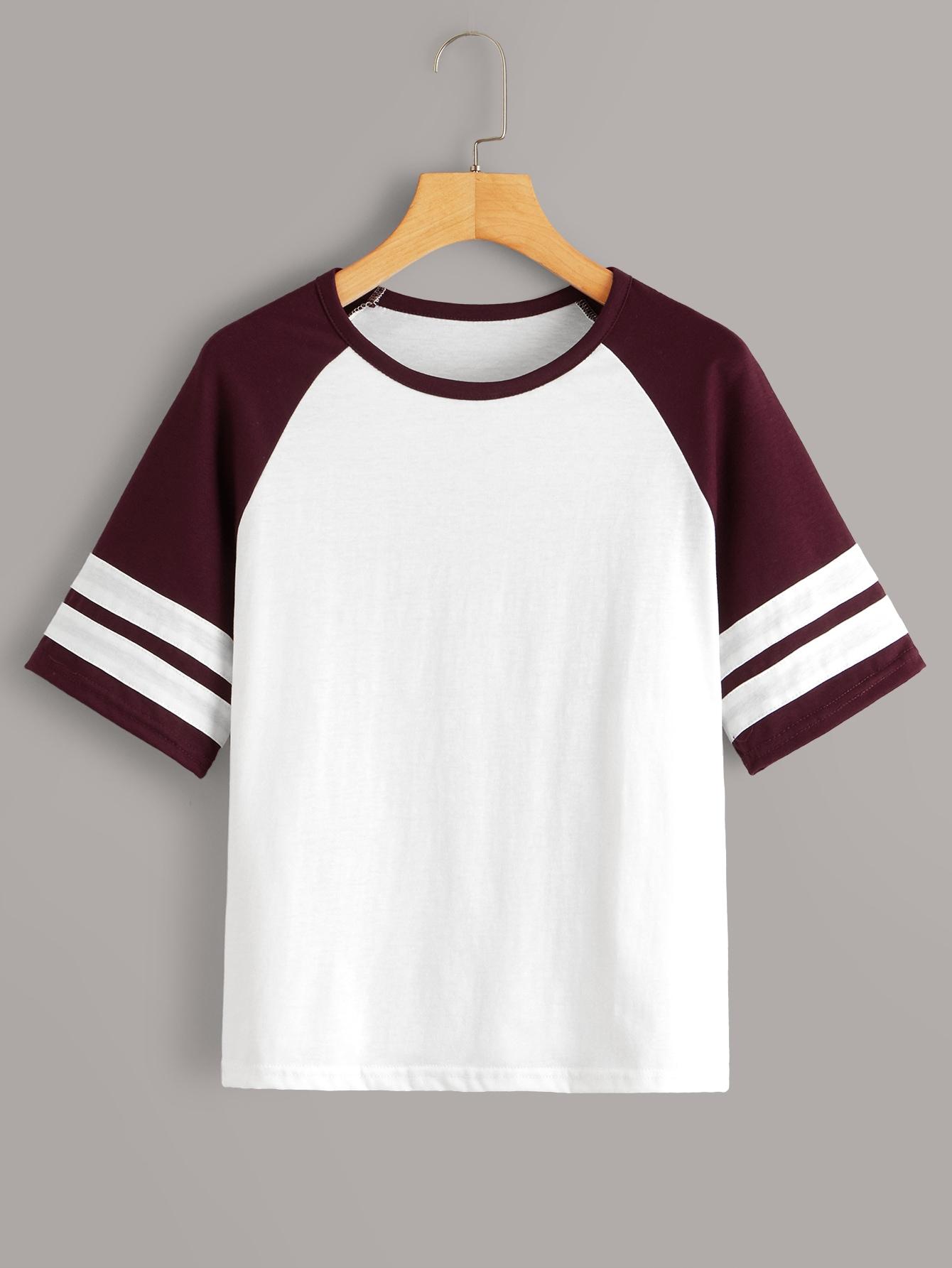 Фото - Контрастная футболка в полоску от SheIn цвет многихцветный