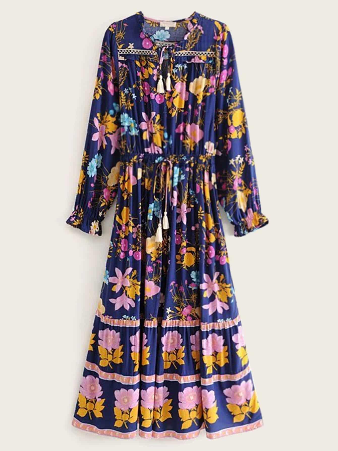 Фото - Платье на кулиске с цветочным принтом от SheIn цвет многоцветный