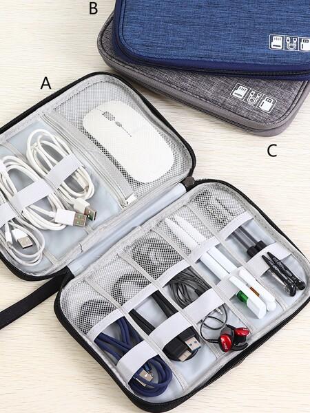 Texture Pattern Cable Line Storage Bag 1pc