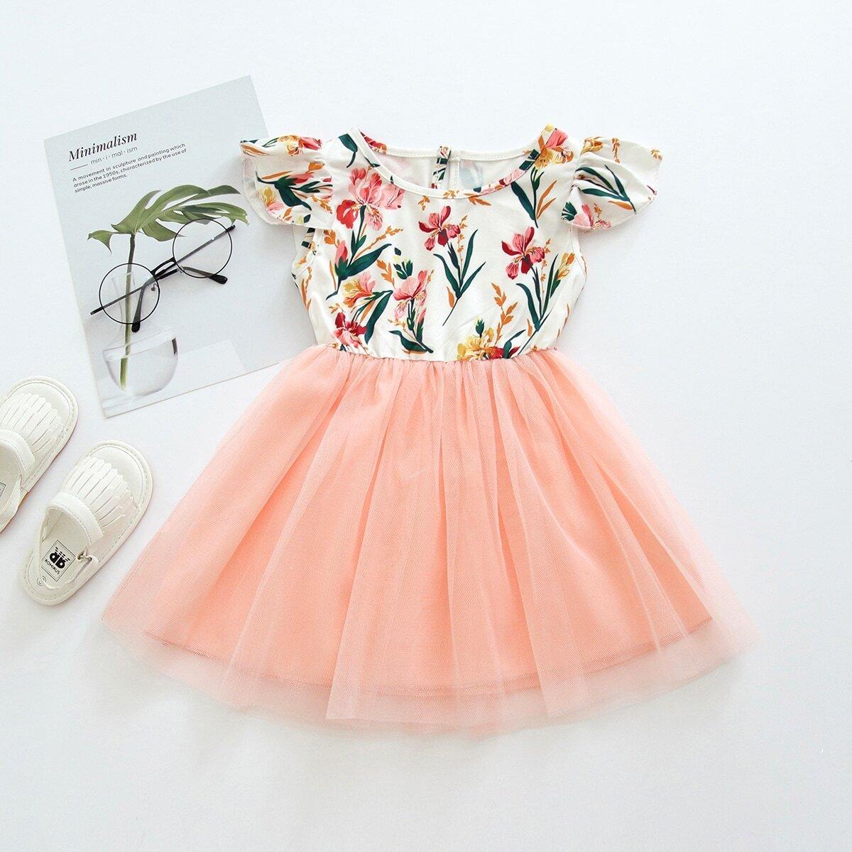 Платье с контрастной сеткой и цветочным принтом для девочек от SHEIN