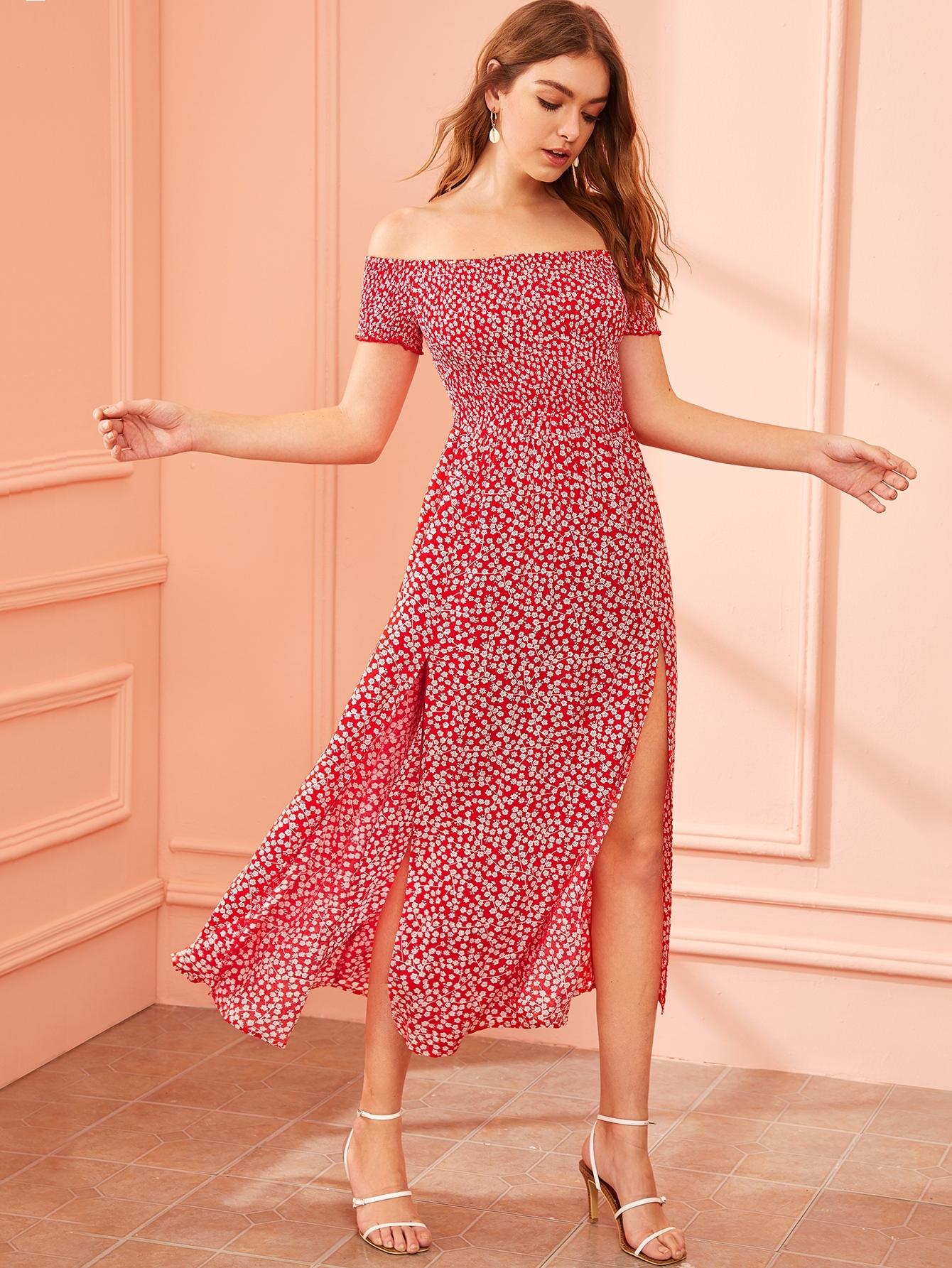 Фото - Платье с разрезом, открытым плечом и цветочным принтом от SheIn цвет красные