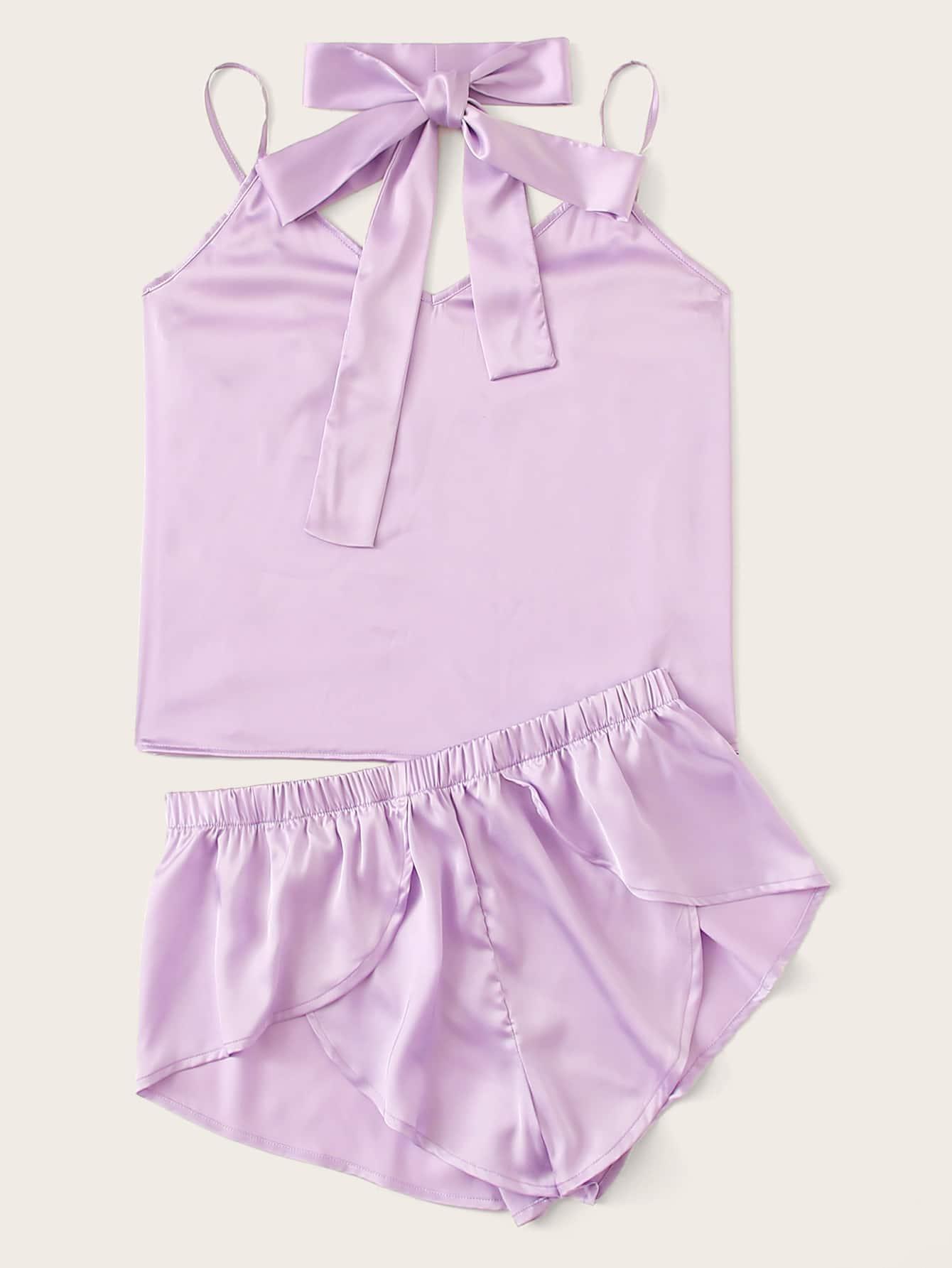 Фото - Атласная пижама на бретелях с поясом от SheIn цвет фиолетовые