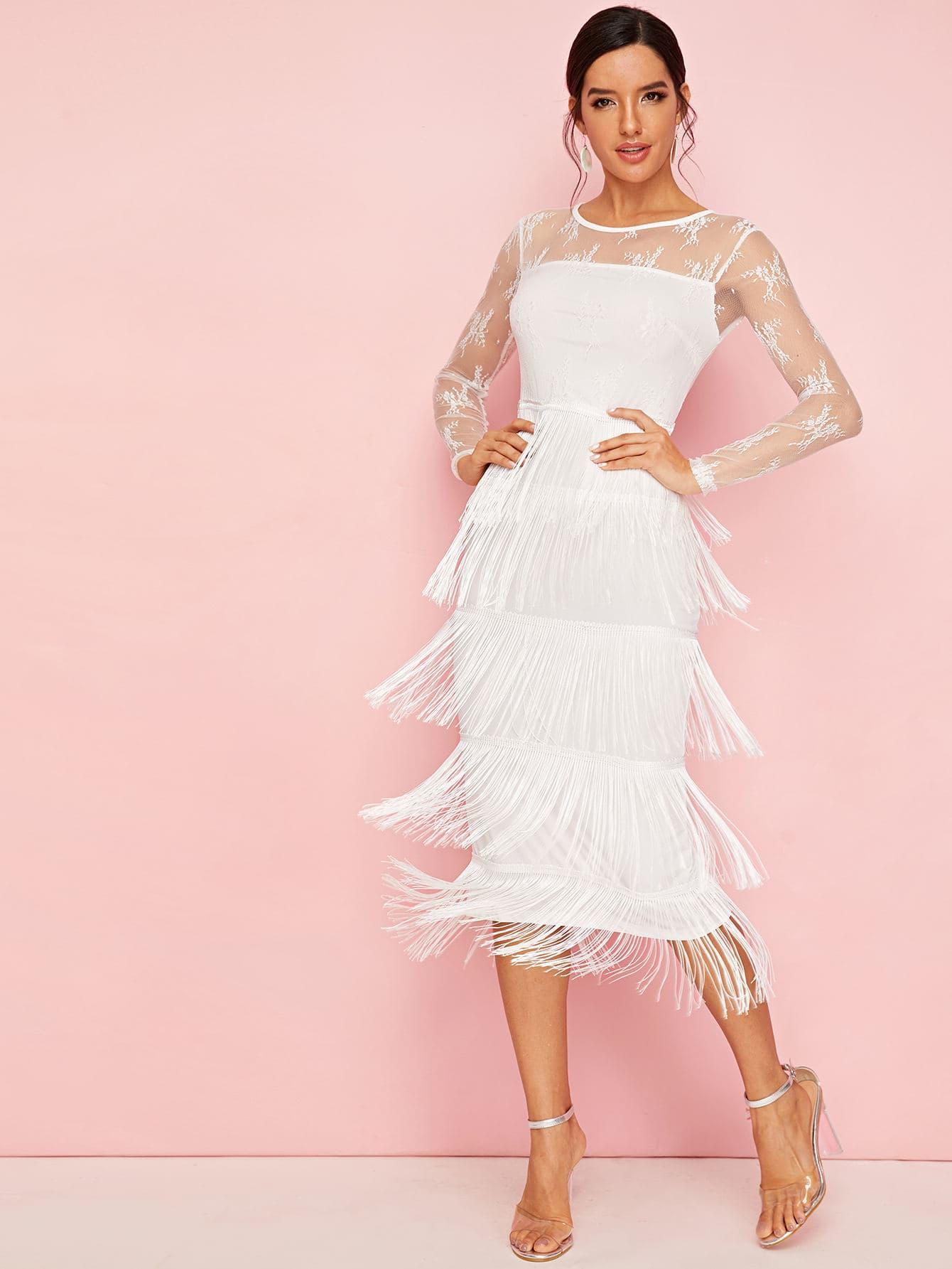 Платье С Кружевным Лифом ИМногослойной Бахромой