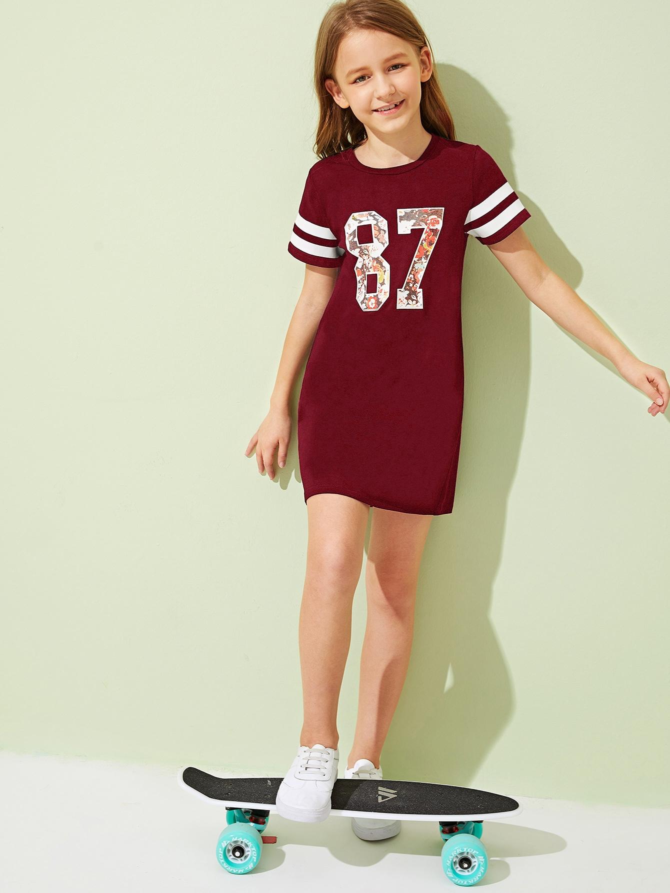 Фото - Платье-футболка с цветочным принтом и полосками от SheIn цвет бургундия