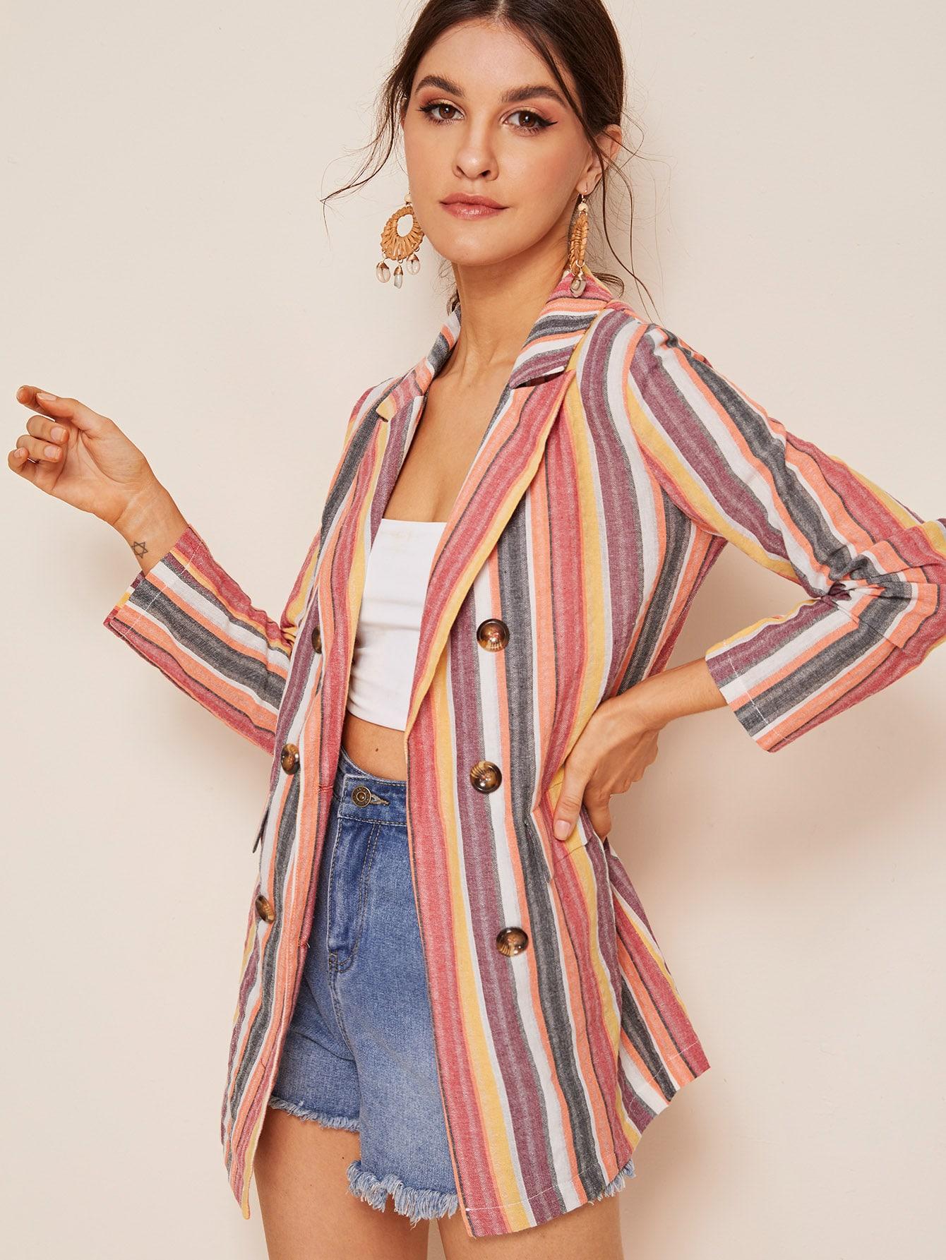 Фото - Разноцветный полосатый пиджак с пуговицами от SheIn цвет многоцветный